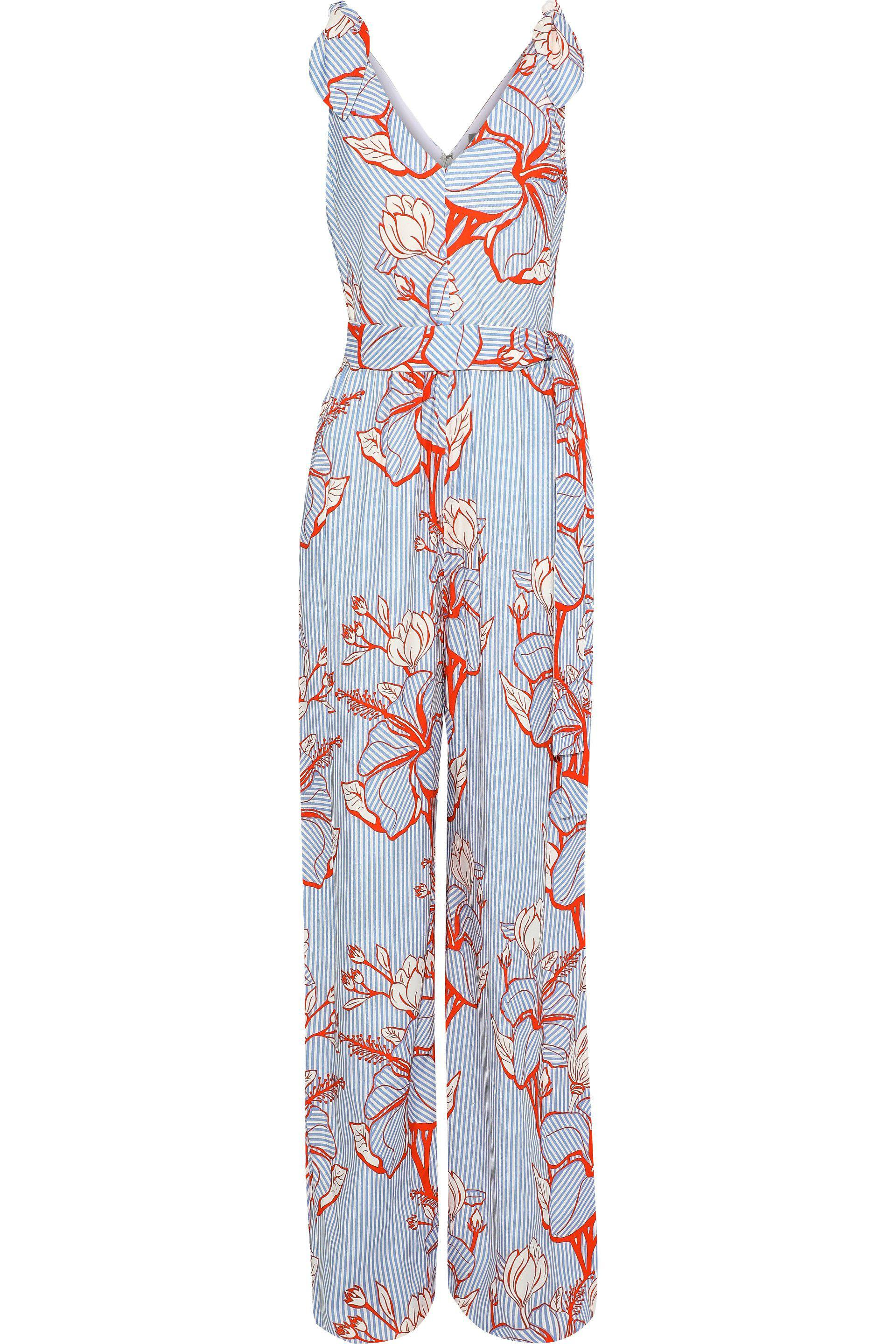 7d27670c489 Lyst - Lela Rose Woman Bow-detailed Printed Twill Jumpsuit Light ...