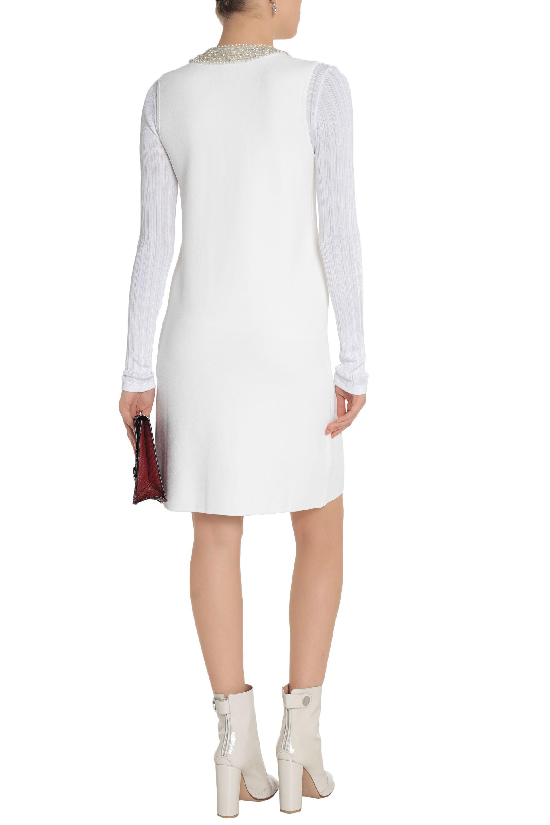 Ganni Woman Loras Embellished Stretch-knit Dress White Size S Ganni