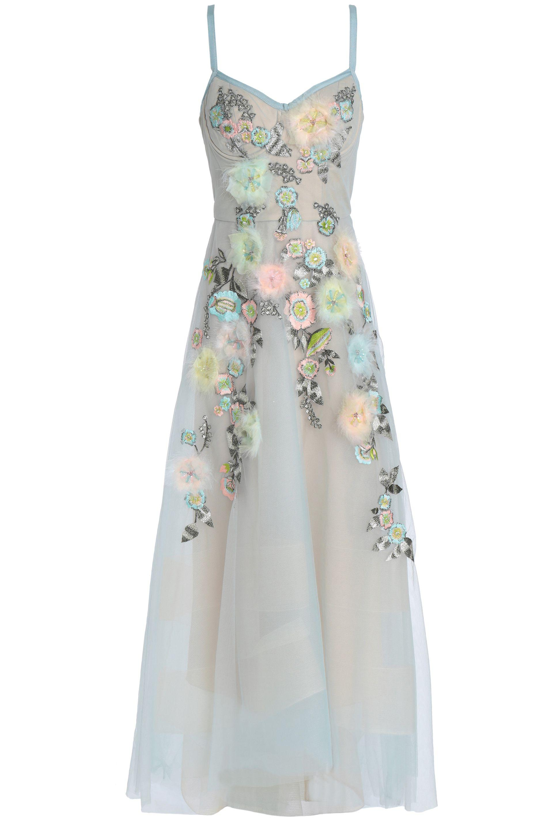 e6955686 Marchesa notte. Women's Woman Feather-trimmed Embellished Tulle Gown ...