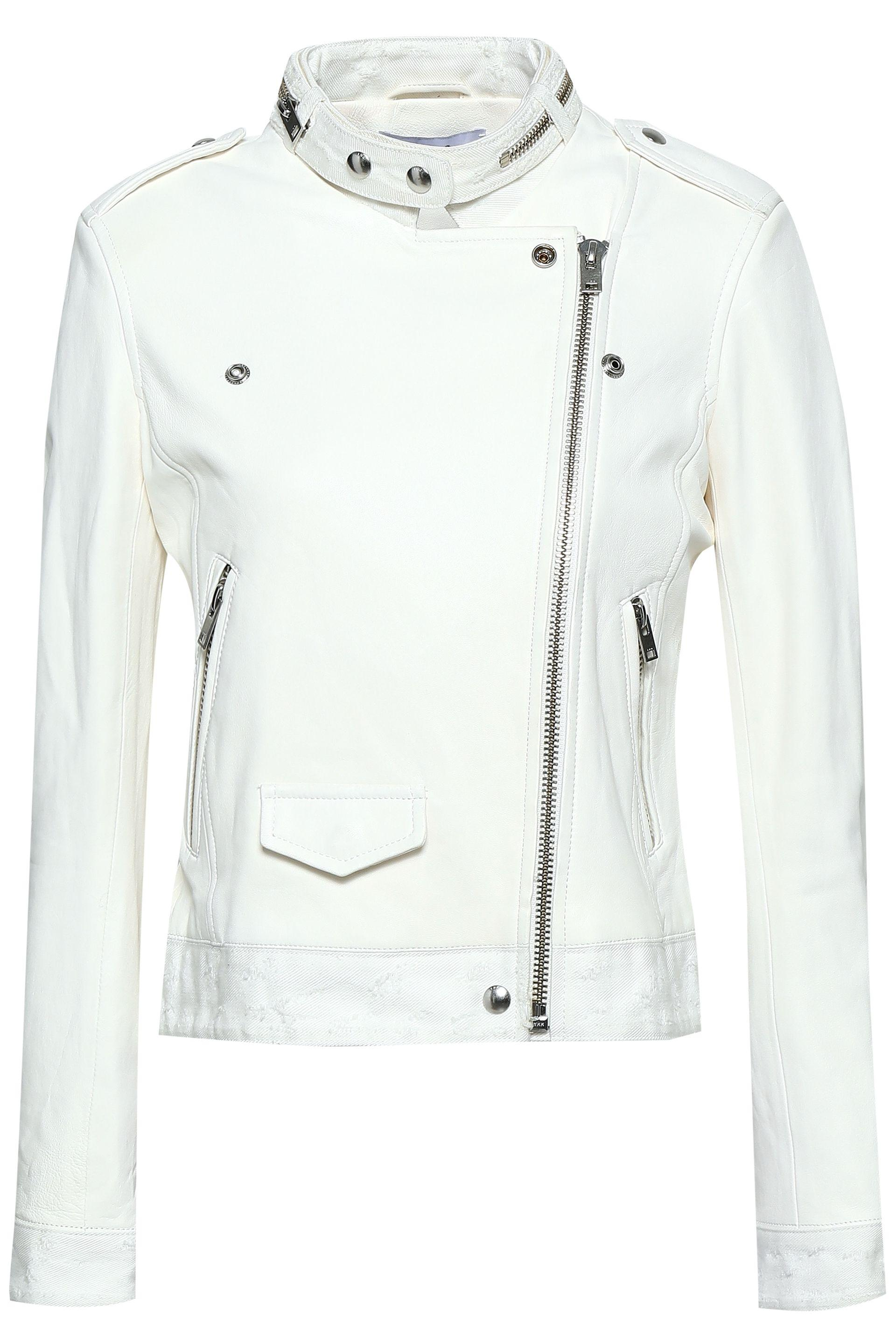 c8361a761c IRO Woman Distressed Denim-trimmed Leather Biker Jacket White in ...