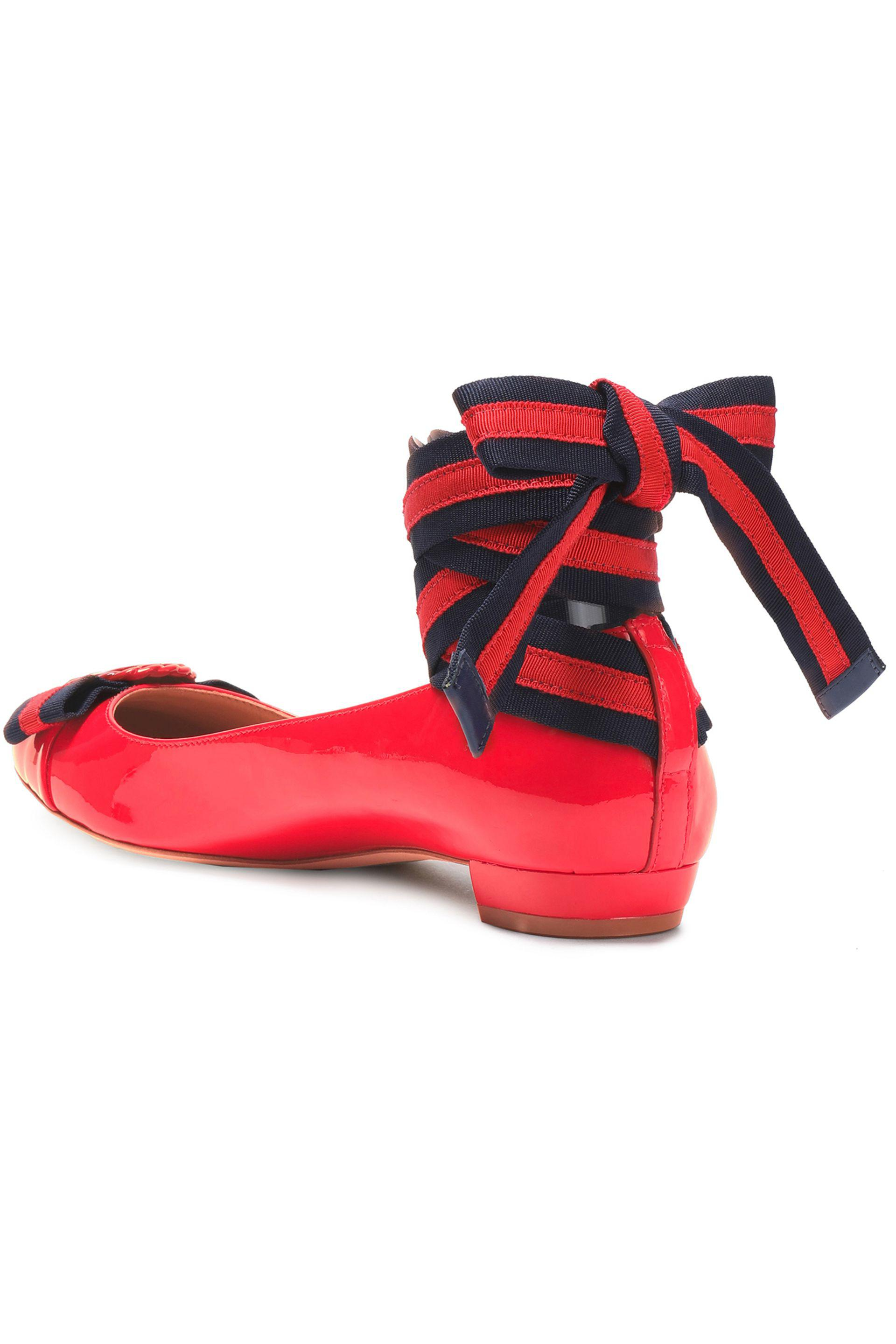 806b125a6f1d2e ... low price tory burch embellished patent leather ballet flats in red lyst  774da ca9b8