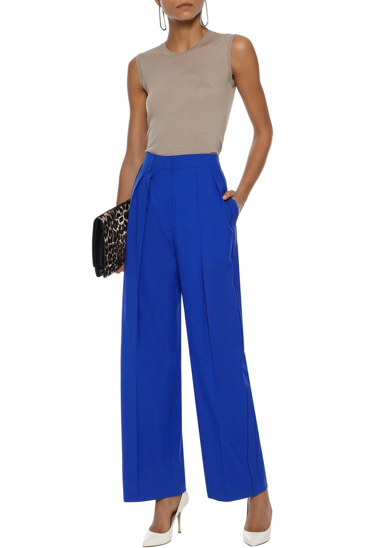 8f0f0e43f58f7 Agnona - Woman Pleated Wool Wide-leg Pants Bright Blue - Lyst. View  fullscreen