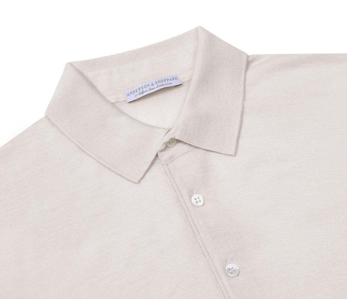 d332b38a9 ... Beige Long Sleeve Cashmere And Silk Polo Shirt for Men -. View  fullscreen