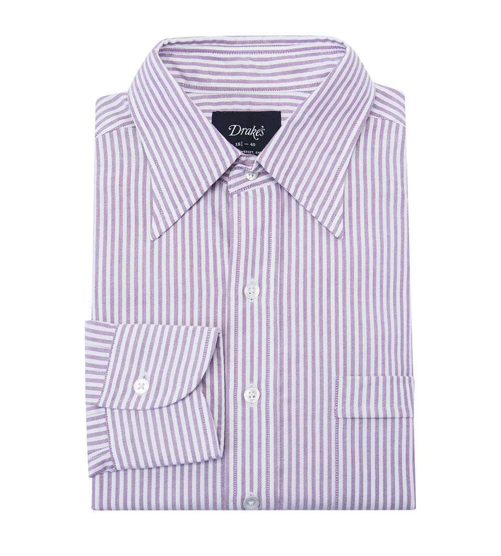 Lilac Bengal Stripe Long Cotton Oxford Shirt Drake's Discount Price WCByObq