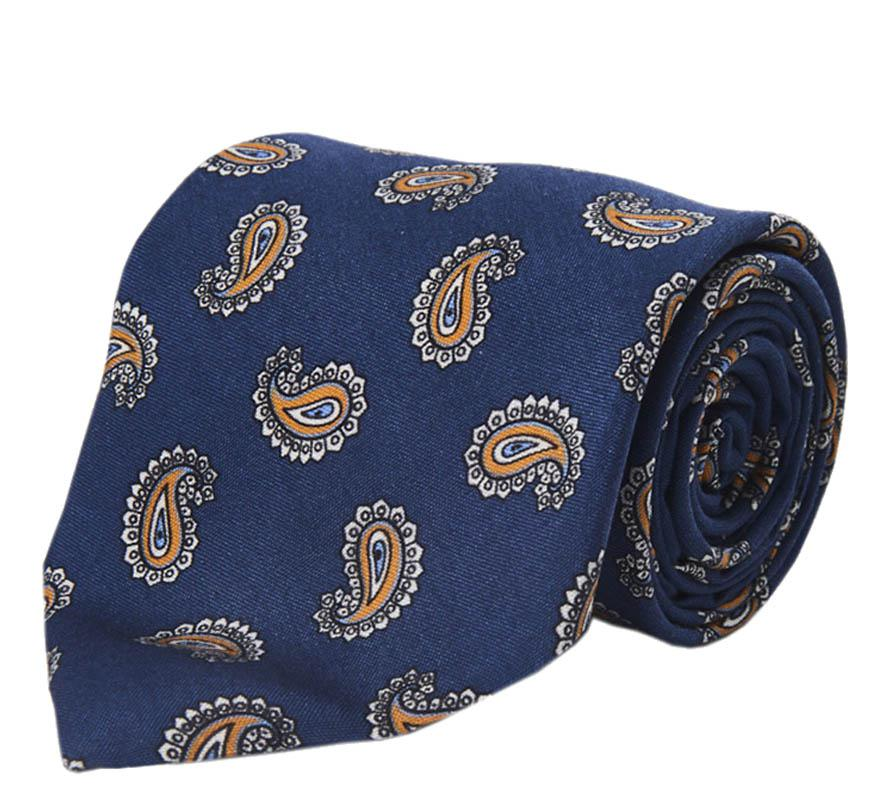 Red and Blue Paisley Wool Tie Calabrese 1924 IMnNQh