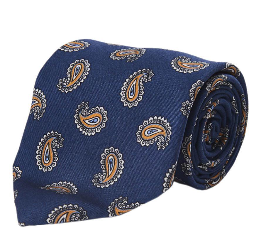 Cravate En Soie Paisley Bleu Et Jaune Calabrese 1924 y4Quw
