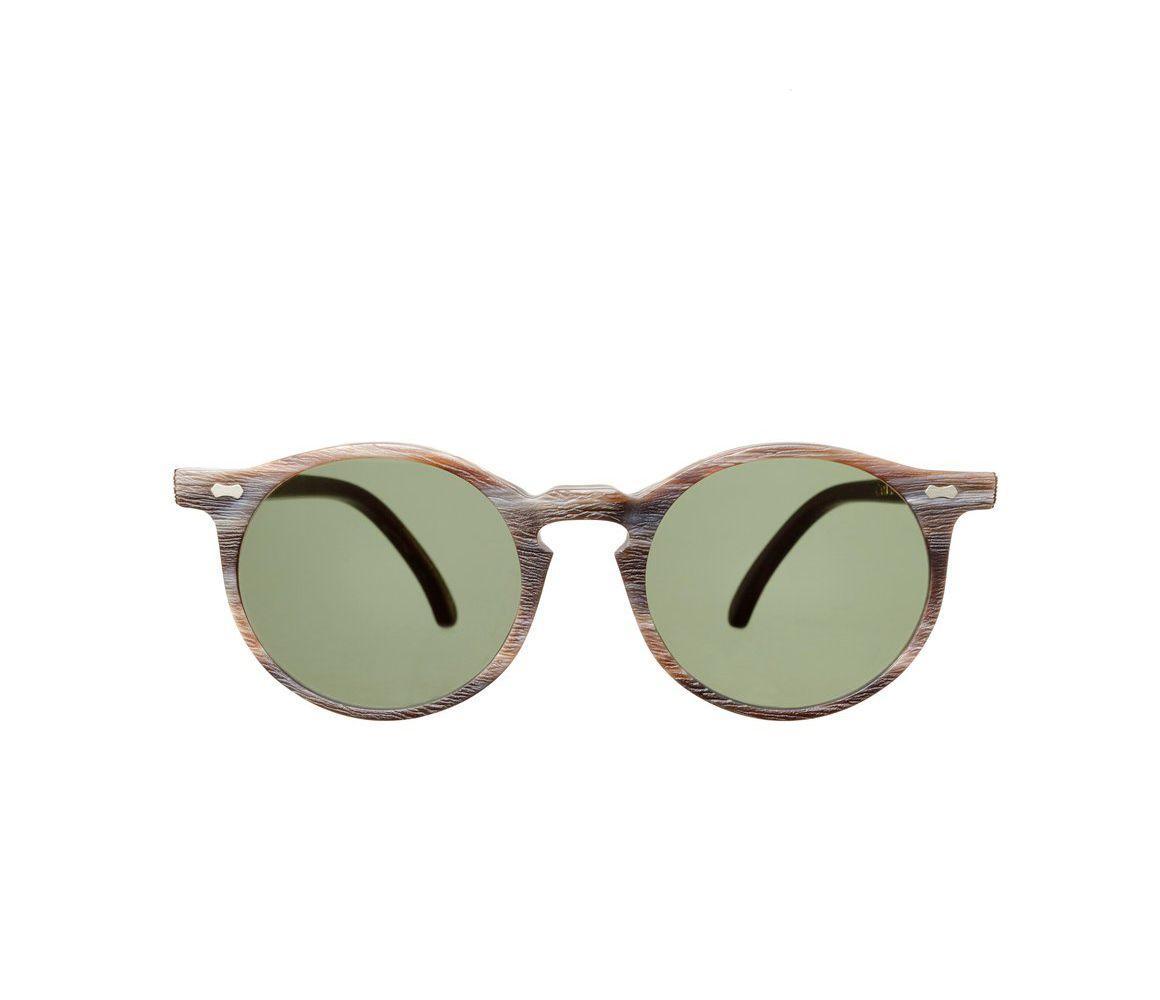 2fde9d5a14 The Bespoke Dudes Eyewear. Men s Canvas Brown Brushed Acetate Bottle Green  Lens Sunglasses