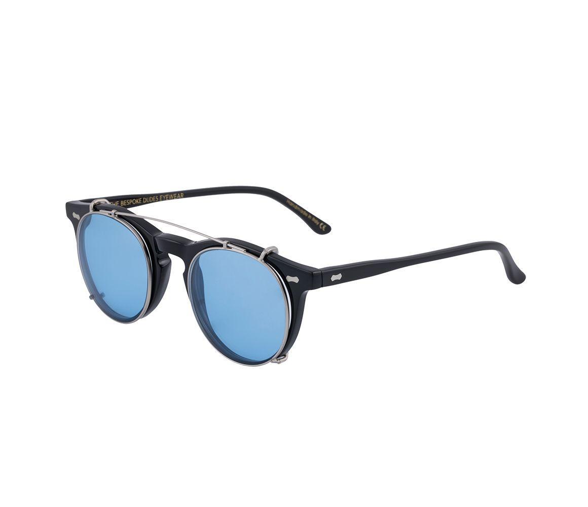 bda32a5de2 The Bespoke Dudes Eyewear - Metallic Clip Silver Metal Blue Lens Sunglasses  Frames for Men -. View fullscreen