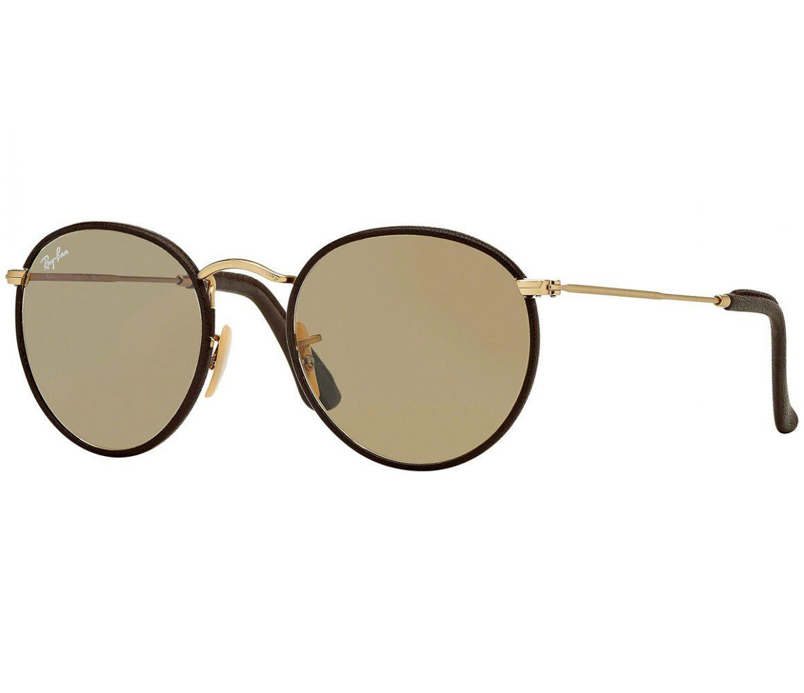 97fff3b493 Lyst - Ray-Ban Round Craft Rb3475q 112 53 Brown Leather And Gold ...