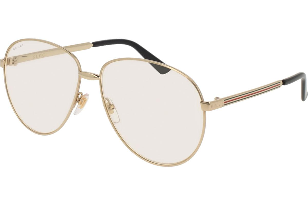 406b7c17fb33 Gucci. Men s Metallic Gold Aviator Frames With Clear Lenses Eyewear ...