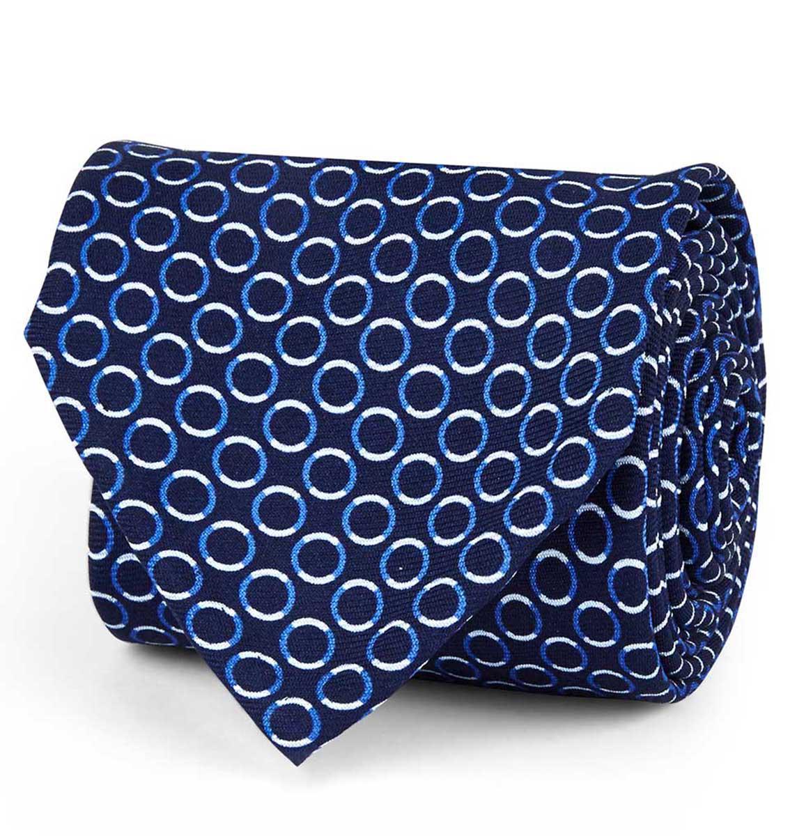 Simple, Bleu Et Noir Fleur De Soie Cravate Rubinacci