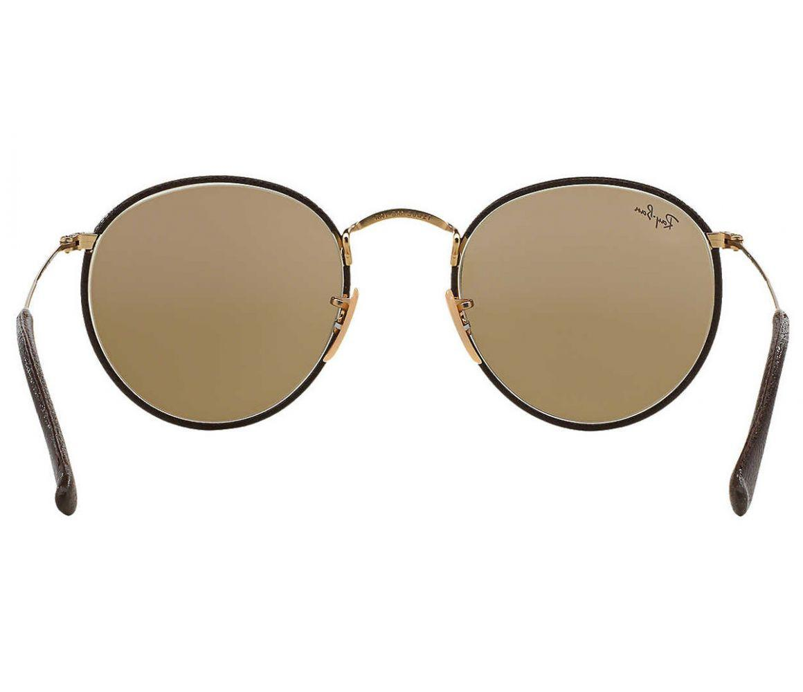 a4ce5f71655 Ray-Ban - Round Craft Rb3475q 112 53 Brown Leather And Gold Frame With.  View fullscreen