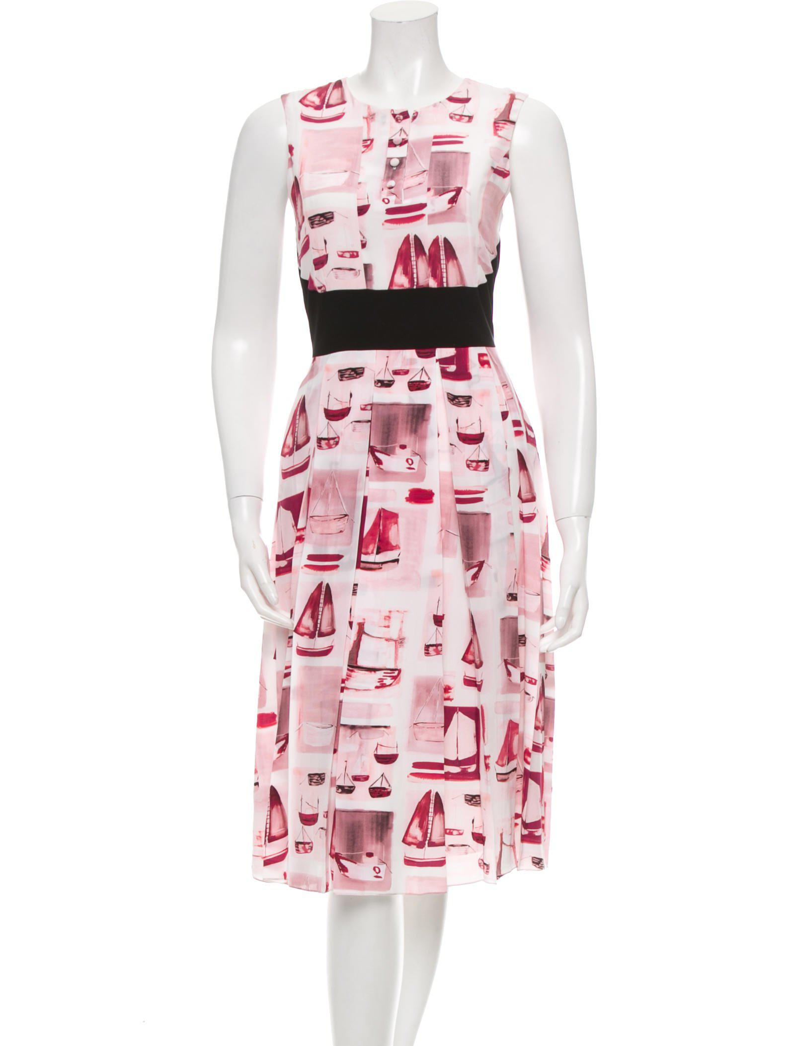 a352ede42b0 Lyst - Prabal Gurung Silk Boat Print Dress W  Tags in Pink