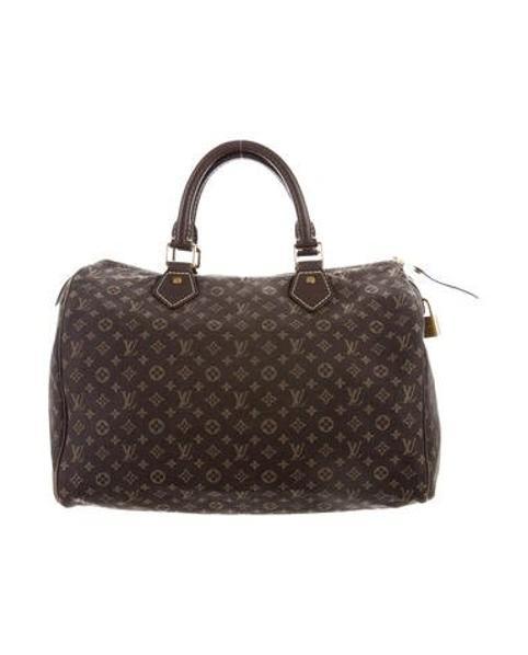 6e6e3a7601fd Lyst - Louis Vuitton Mini Lin Speedy 30 Brown in Natural
