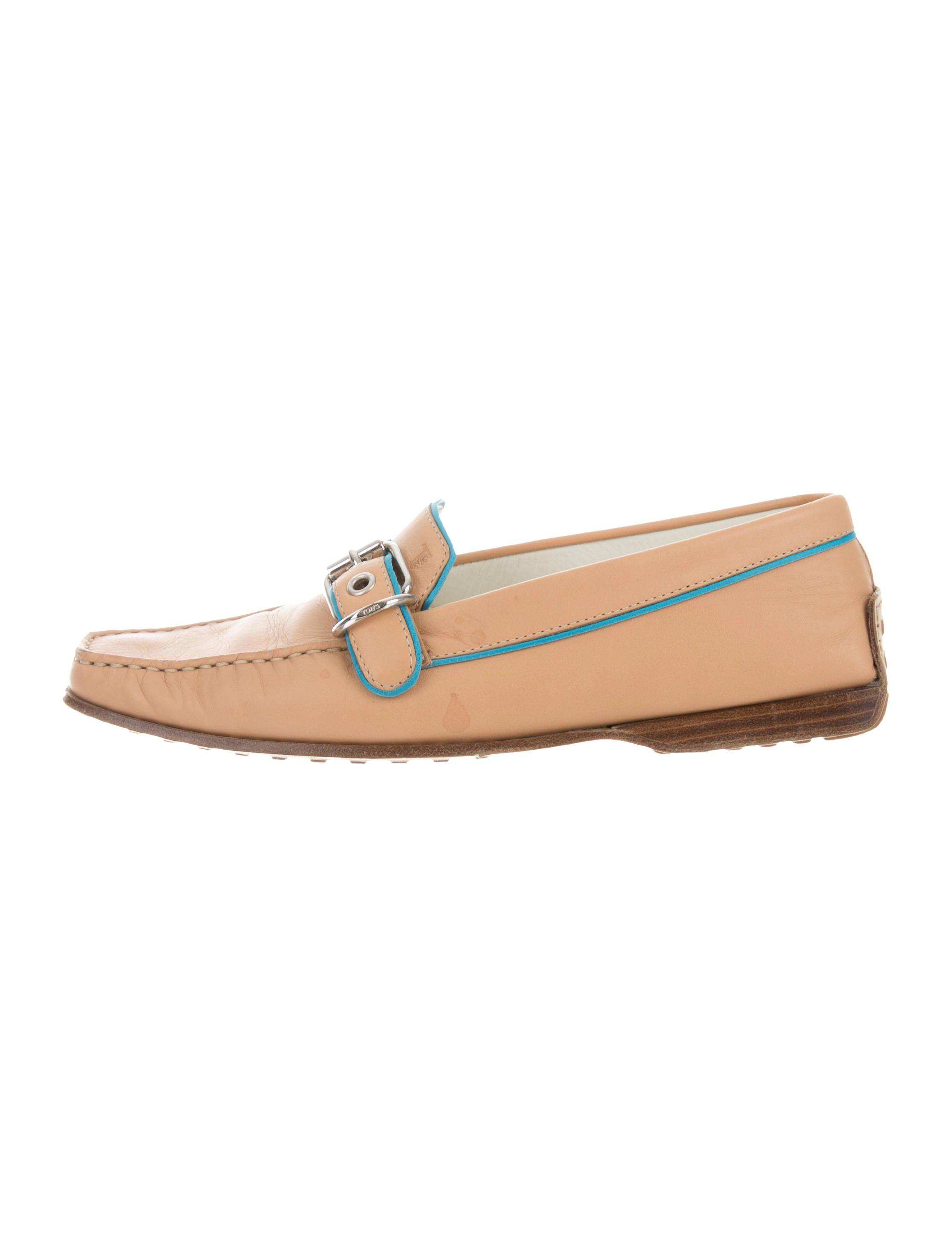 Tod's Buckle-Accented Square-Toe Loafers cheap sale online RYU01qB8