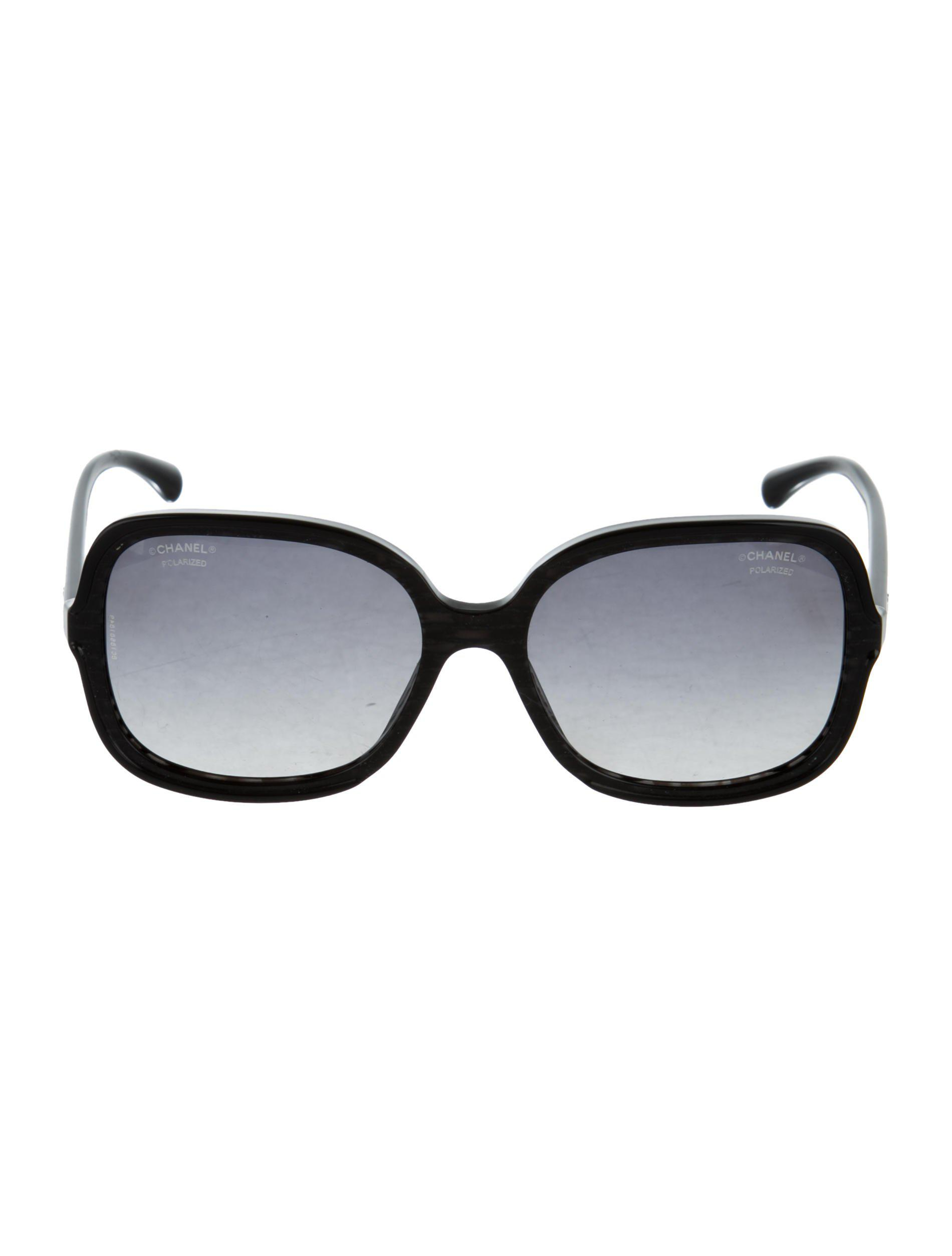 5a82ce913fa6 Lyst - Chanel Polarized Cc Sunglasses Black in Metallic