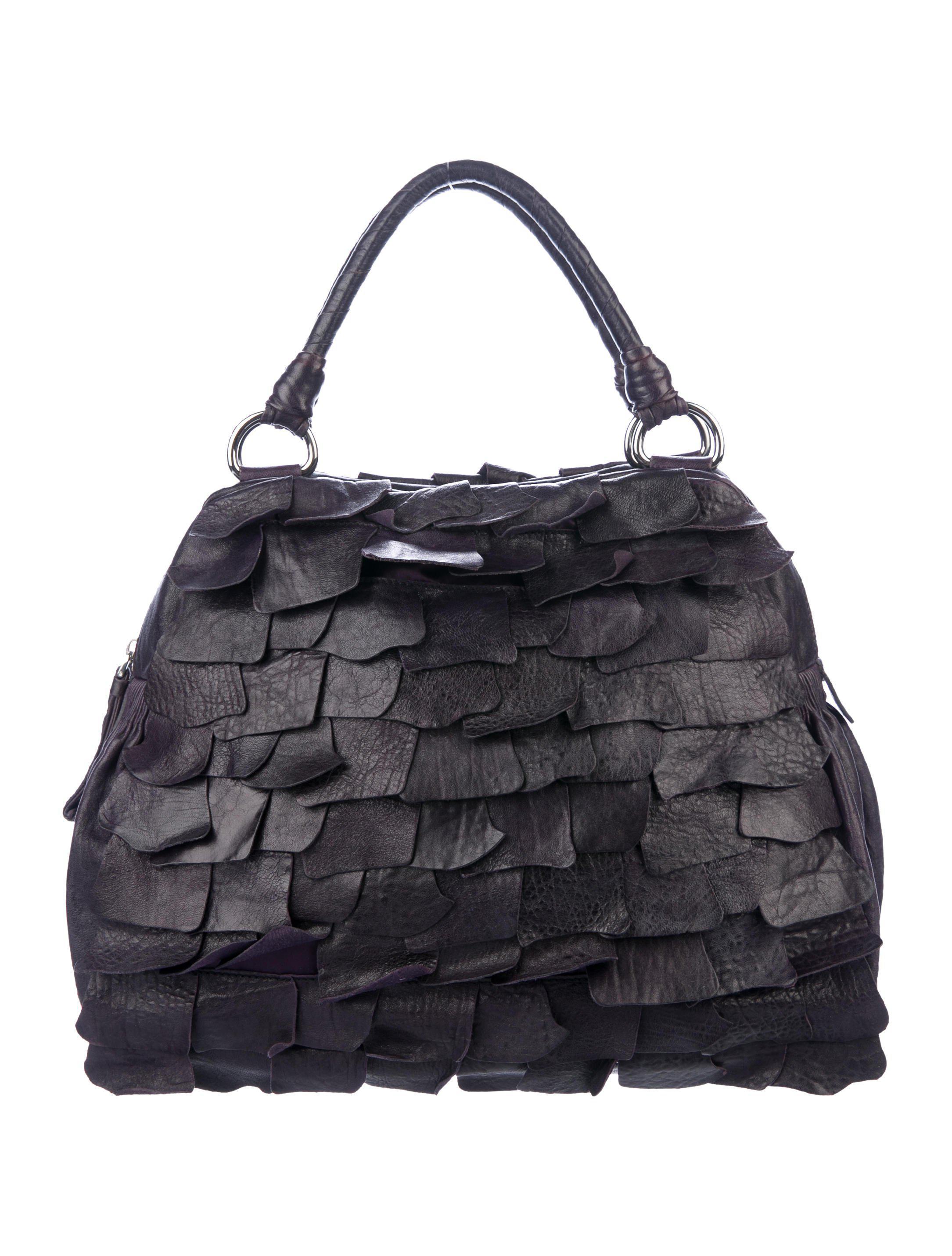Miu Miu. Women's Metallic Miu Ruffled Leather Handle Bag Silver