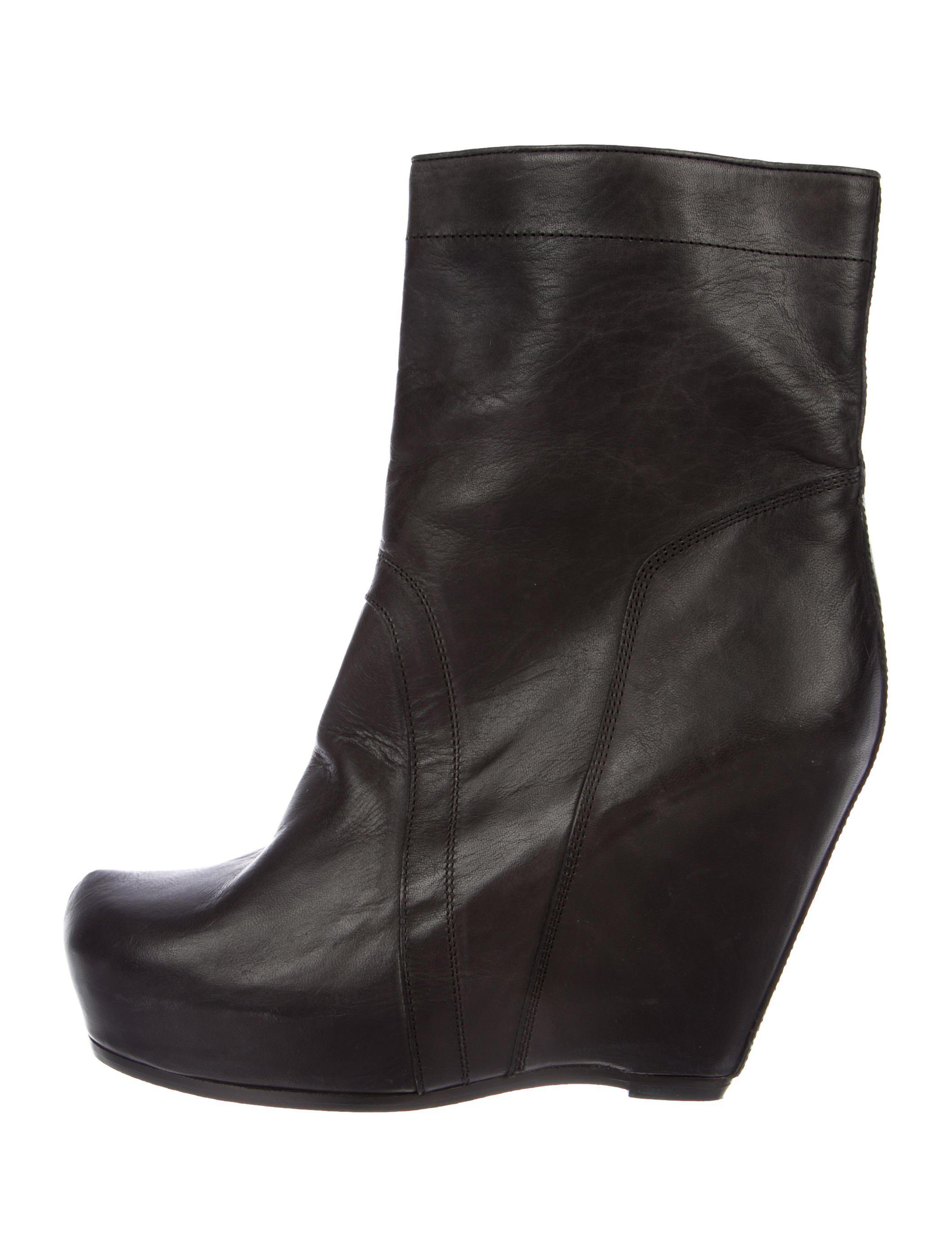 fb39868aa0b6 Lyst - Rick Owens Platform Wedge Ankle Boots in Black