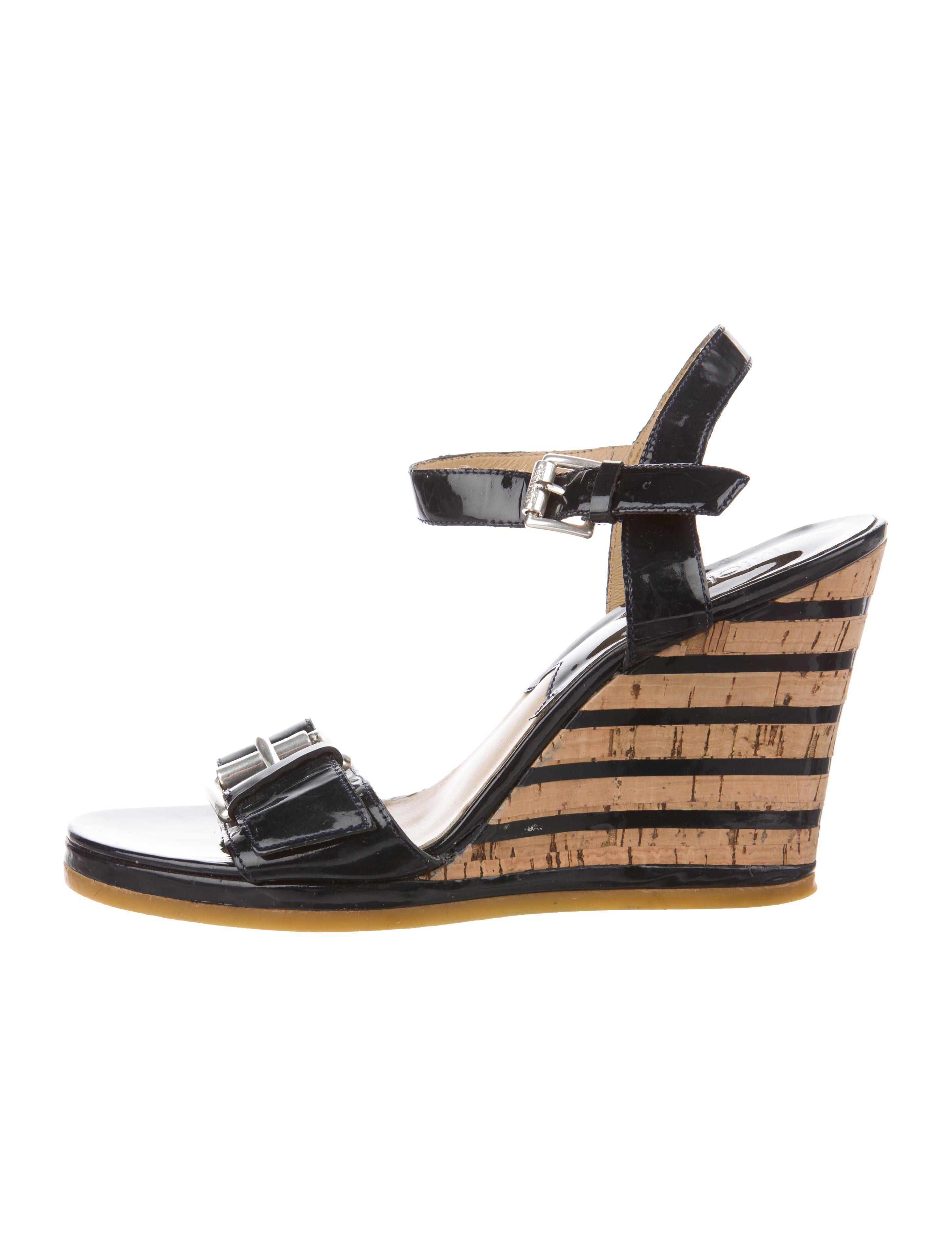 522ad0a0dfae MICHAEL Michael Kors. Women s Metallic Michael Kors Patent Leather Wedge  Sandals Navy