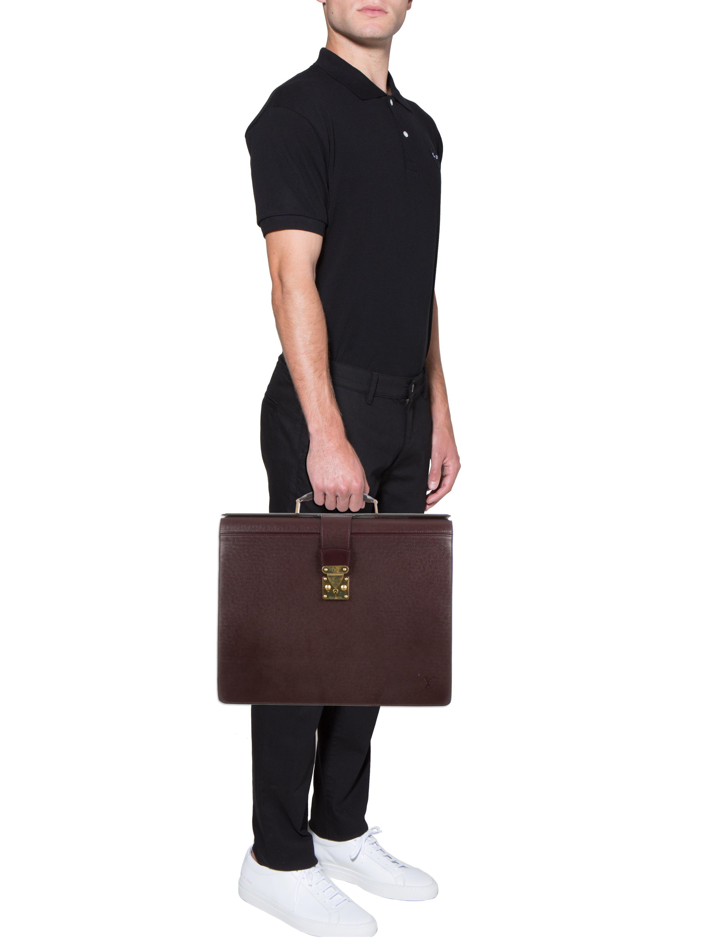 2c896f18cb9d Lyst - Louis Vuitton Taiga Pilot Briefcase Burgundy in Red for Men