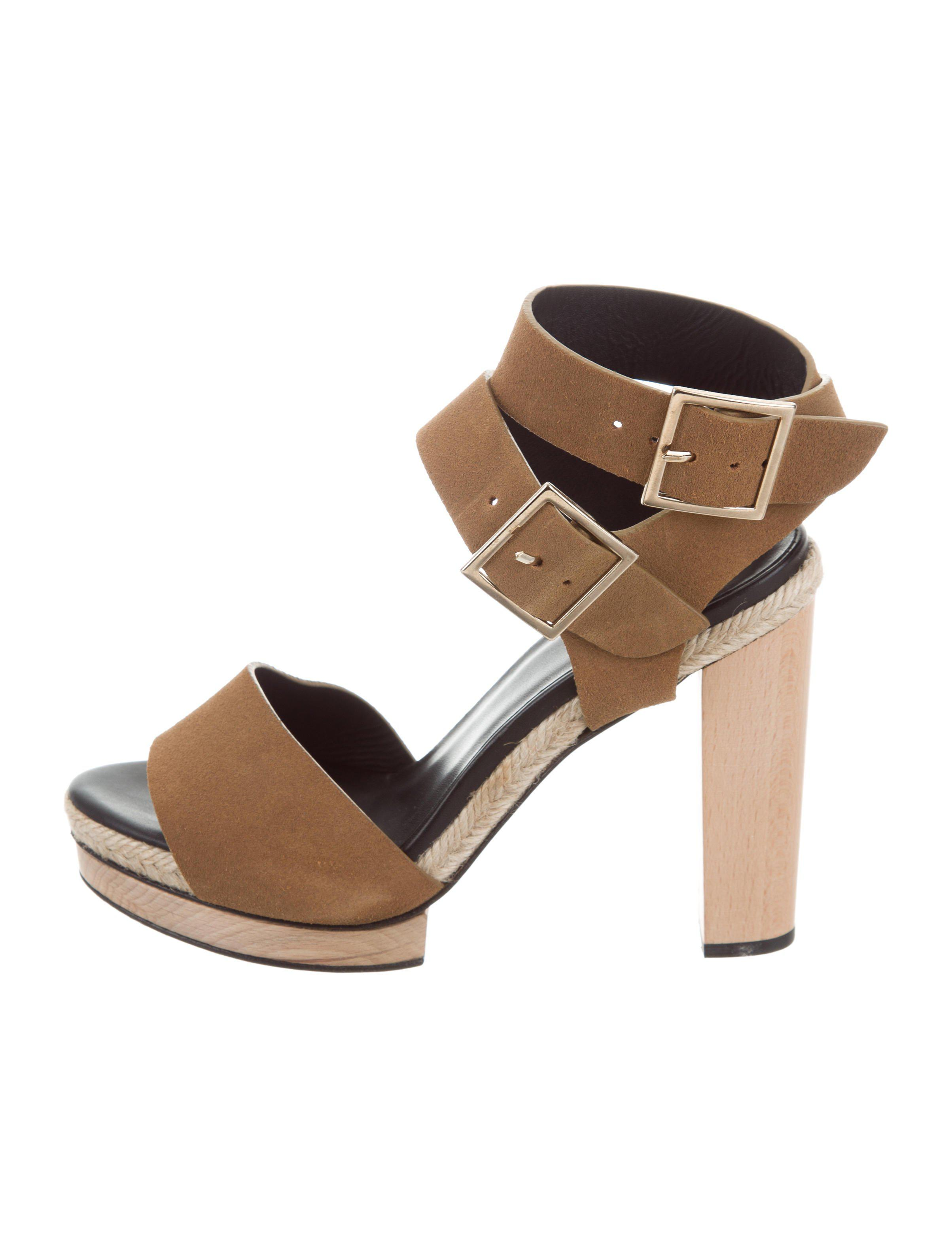 11918752302 Lyst - Pierre Hardy Suede Buckle Sandals Tan in Natural