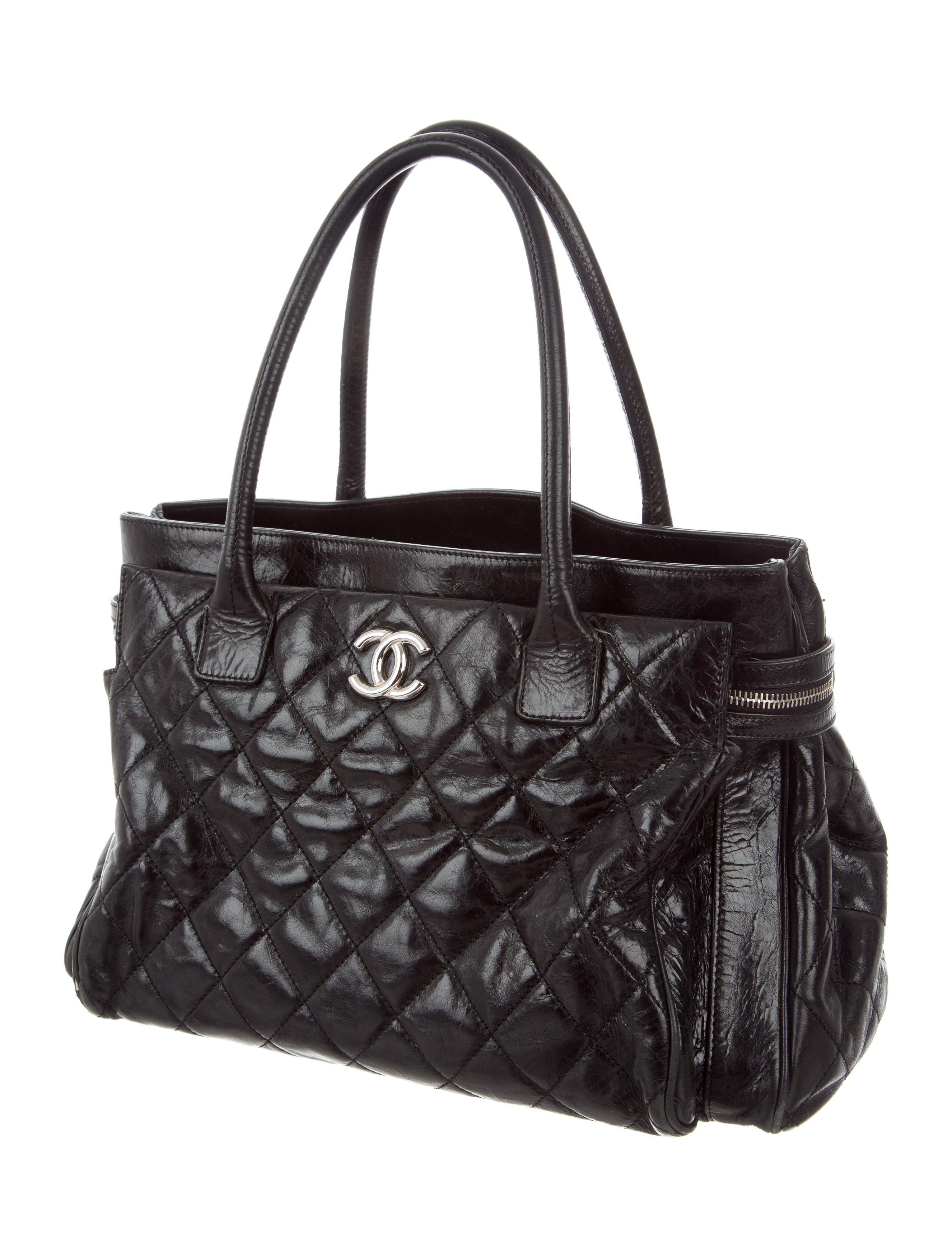 92b115c18bff Lyst - Chanel Glazed Calfskin New Portobello Tote Black in Metallic