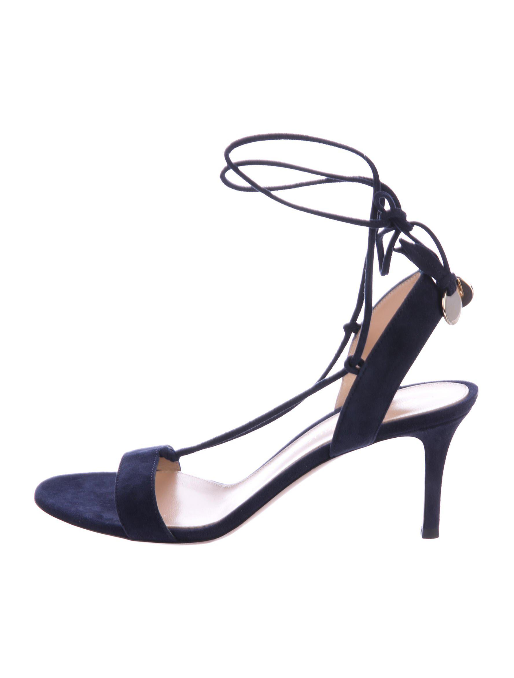 fc6220fbffa5 Lyst - Gianvito Rossi Suede Ankle-wrap Sandals Navy in Metallic