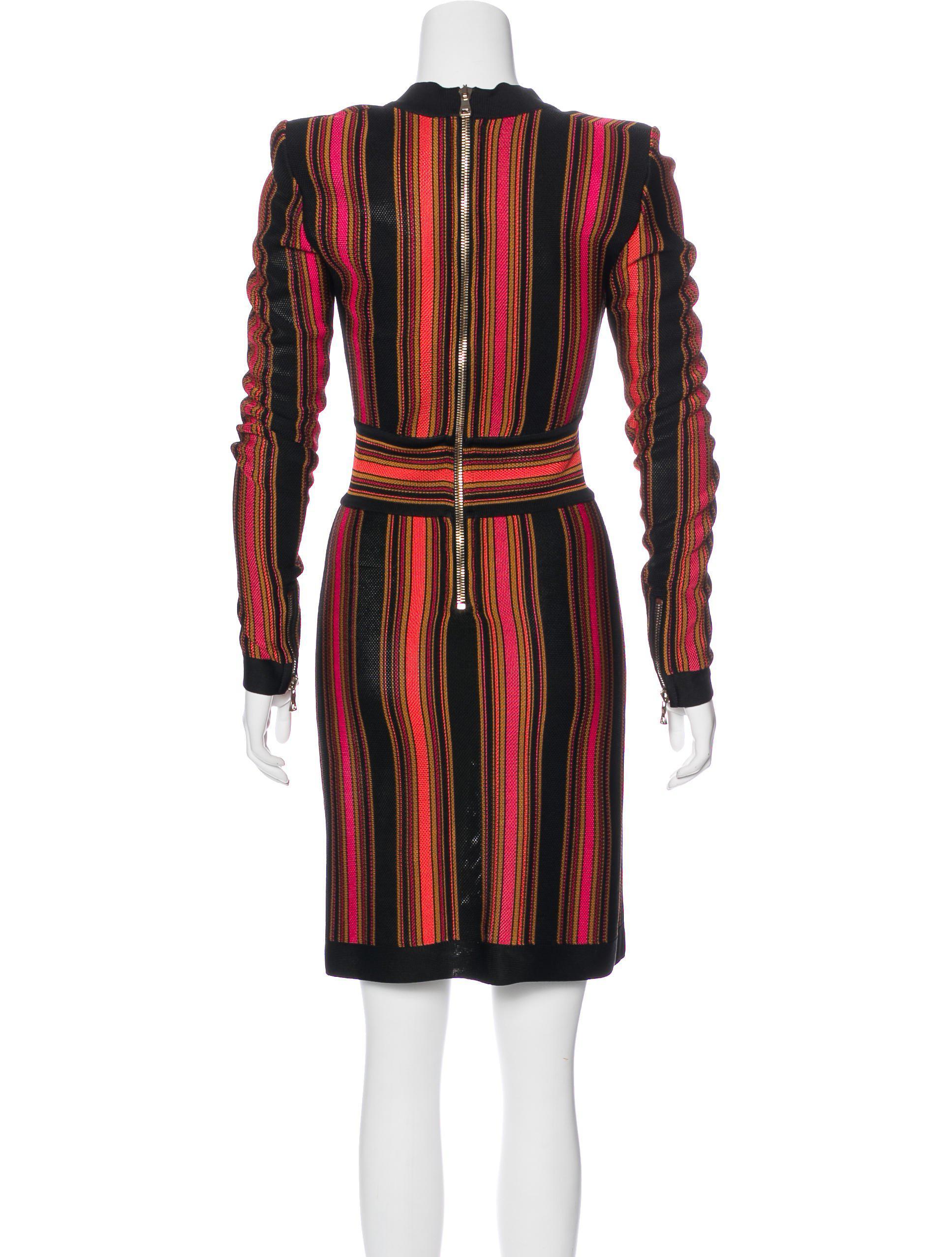 striped knit dress - Black Balmain ywaXZSN