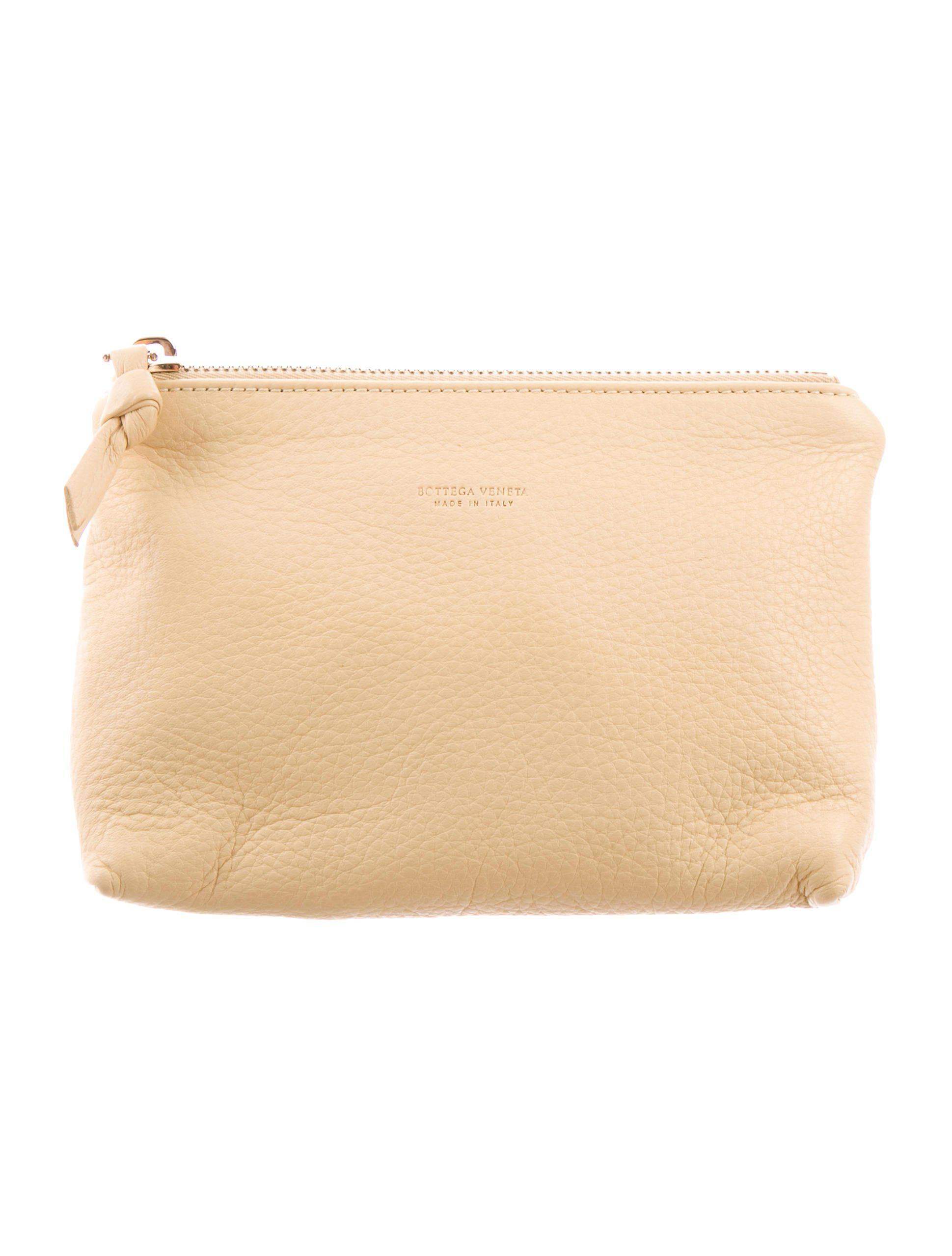 5bf987de97c7 Lyst - Bottega Veneta Leather Cosmetic Bag Tan in Natural