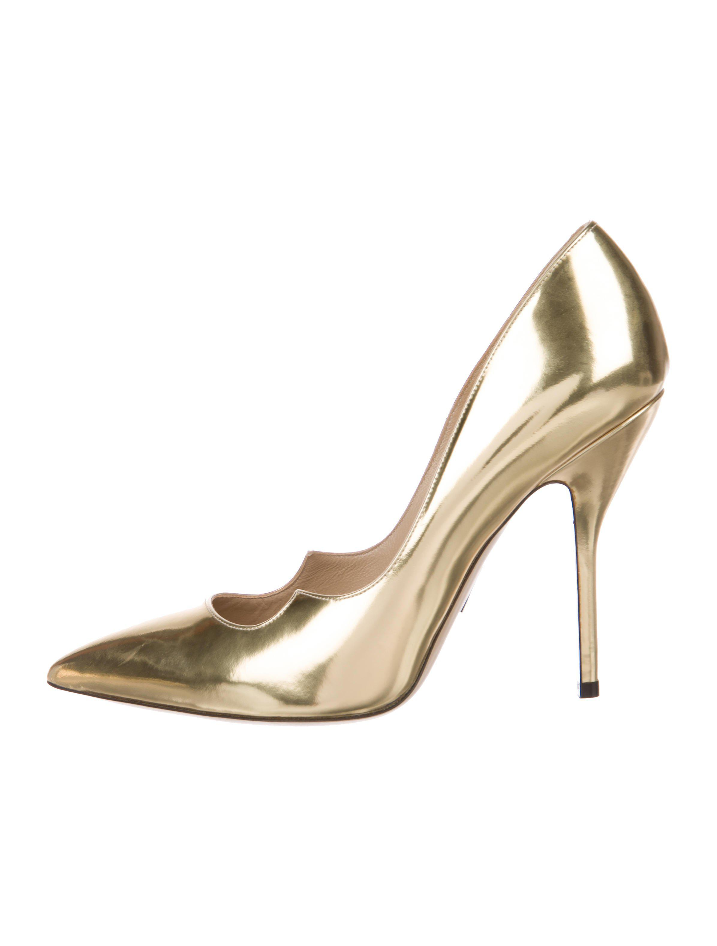4208c08a255c Lyst - Paul Andrew Patent Leather Pointed-toe Pumps Gold in Metallic