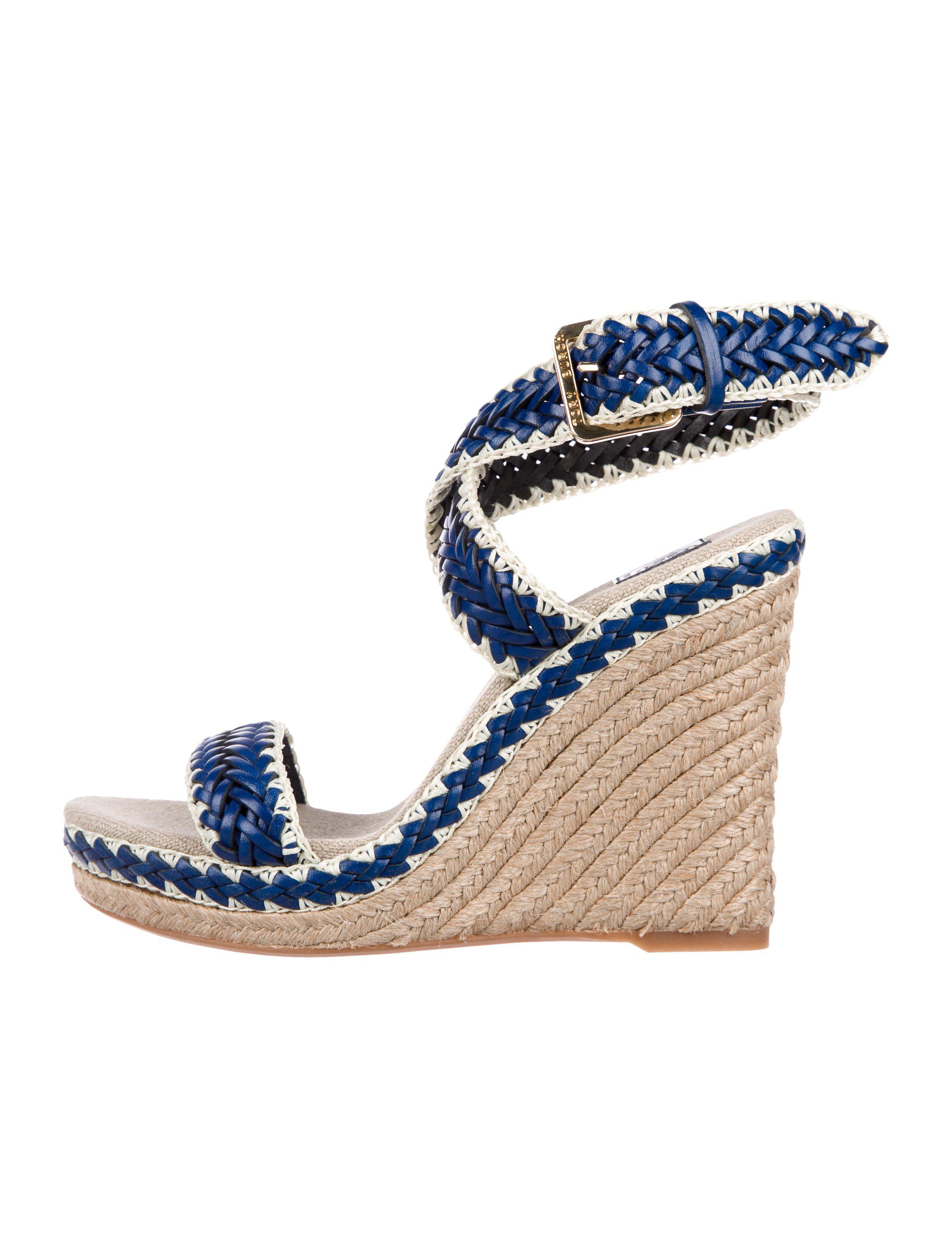 caa3476d2fe Lyst - Tory Burch Leather Espadrille Wedges Blue in Metallic