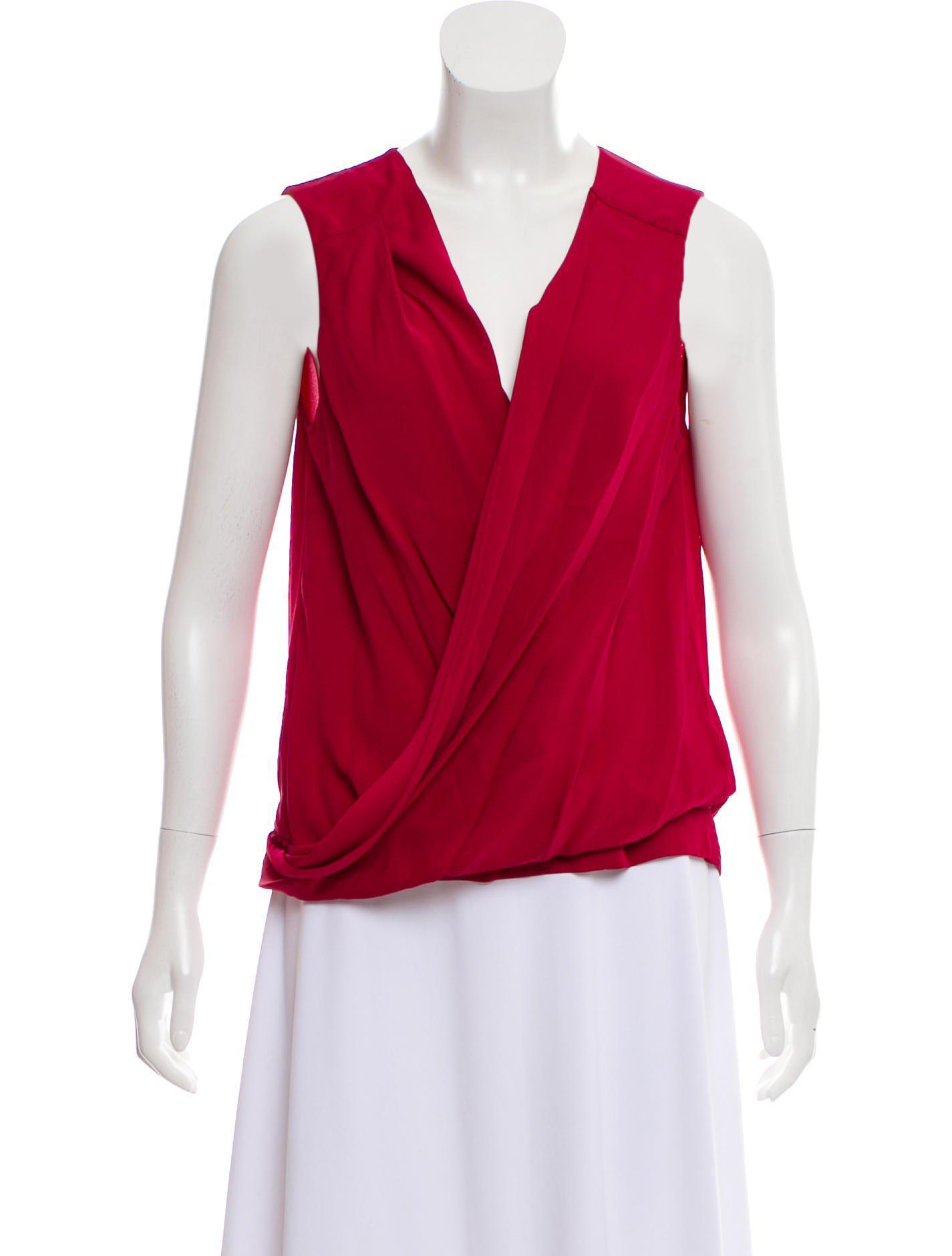 845d2df009a12 Lyst - Diane Von Furstenberg New Issie Two Silk Top in Pink