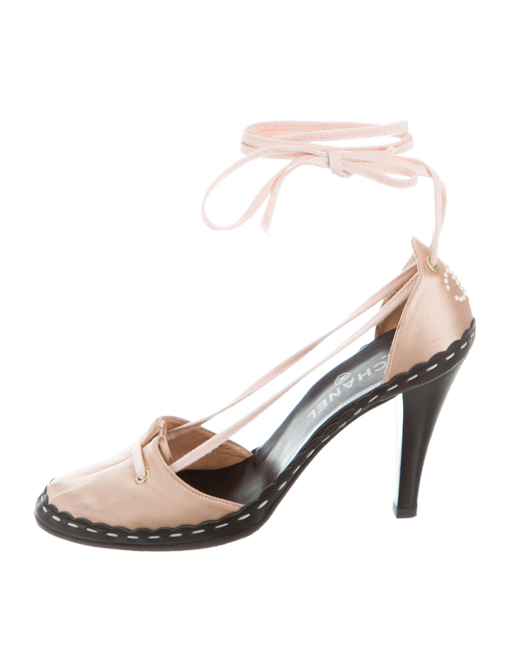 b899b3d9cabd Lyst - Chanel Satin Lace-up Pumps Gold in Metallic