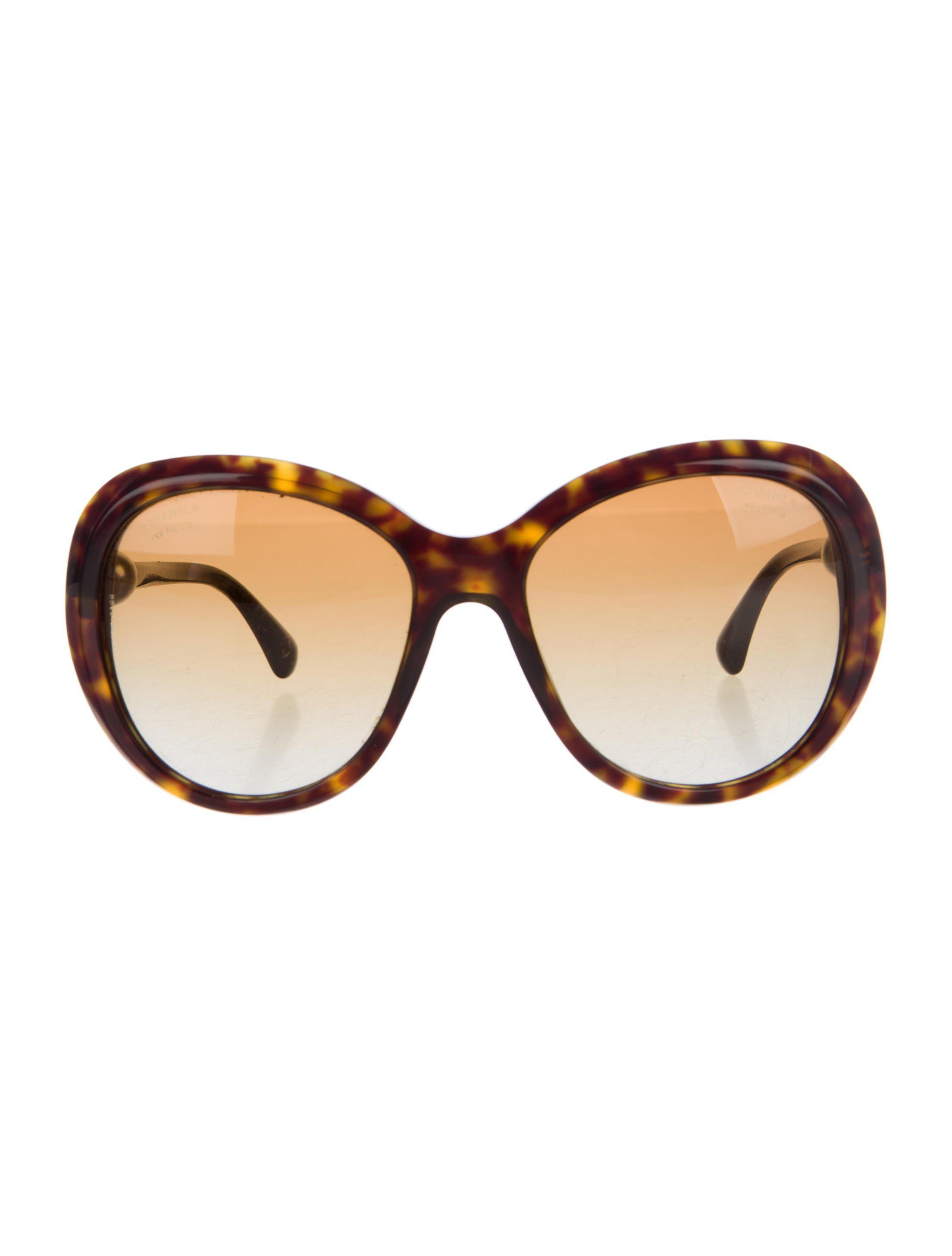 68d8e0a42e853 Lyst - Chanel Oversized Pearl Sunglasses Brown in Metallic