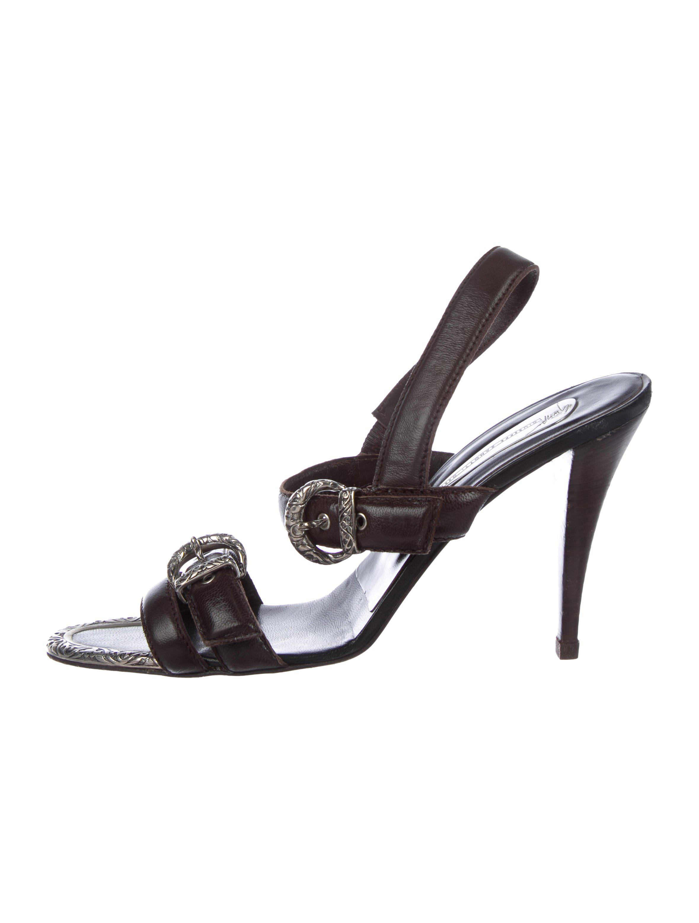 71078a42b8afa2 Lyst - Giuseppe Zanotti Embellished Leather Sandals Brown in Metallic