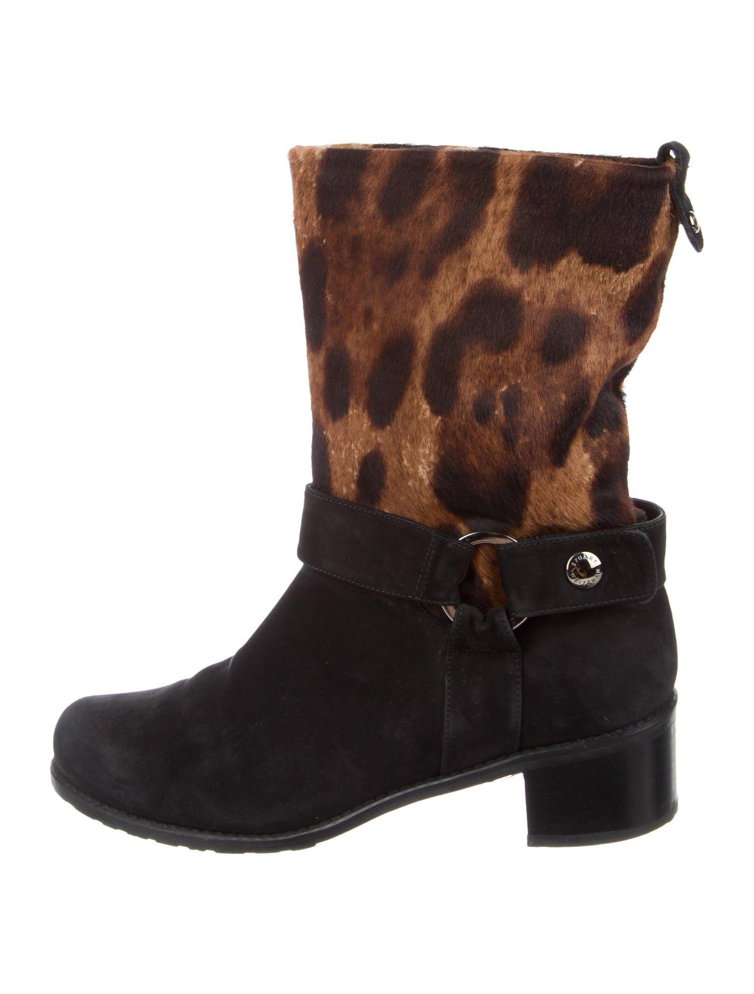 Stuart Weitzman Leather Ponyhair-Trimmed Booties finishline free shipping best seller free shipping pay with paypal 9rBhwV2d