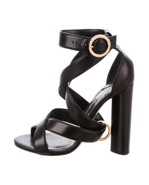 67dd75e80d22 Lyst - Tom Ford Leather Crossover Sandals in Black