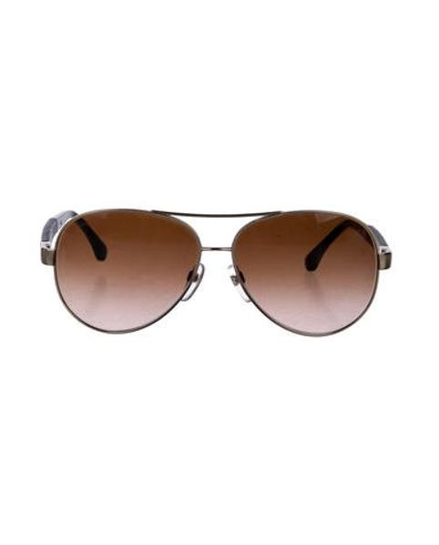 dd2e1b695027 Lyst - Chanel Quilted Pilot Sunglasses Silver in Metallic - Save ...