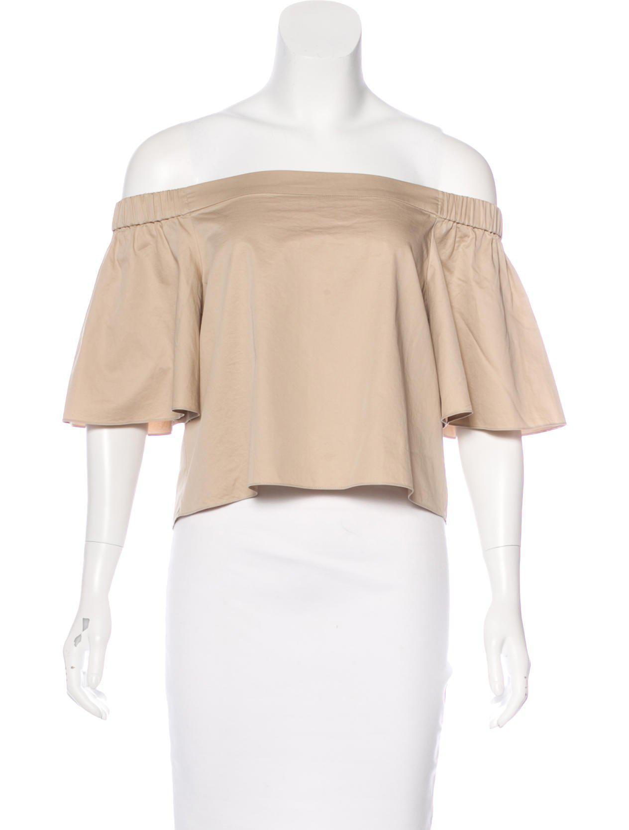 983b2b45909066 Lyst - Tibi Off-the-shoulder Crop Top Tan in Natural