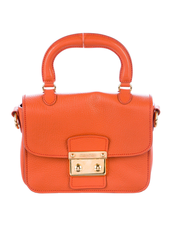 Lyst - Miu Miu Miu Madras Leather Satchel Orange in Metallic 7162fb022def3