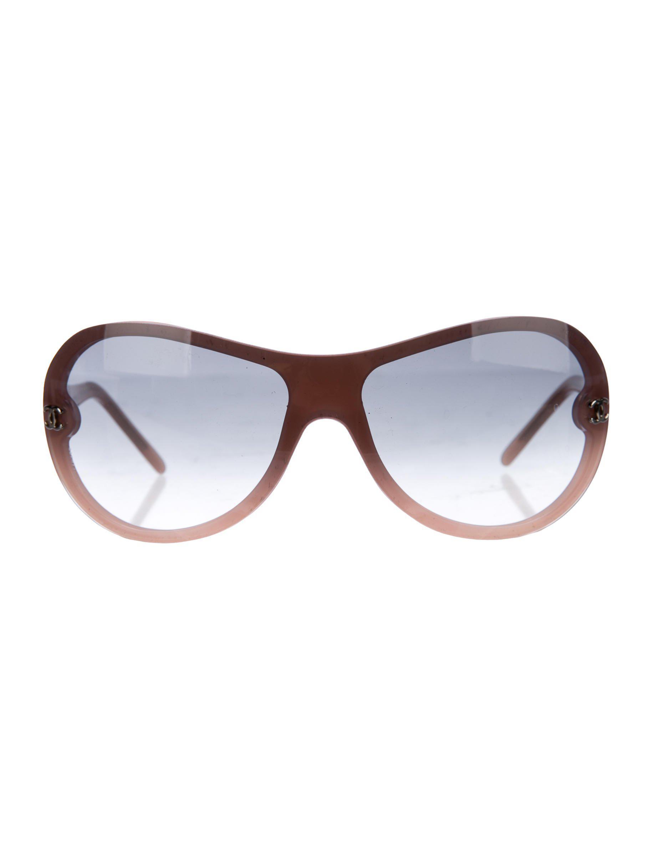 183f03e7f9d Lyst - Chanel Shield Cc Sunglasses Pink in Metallic