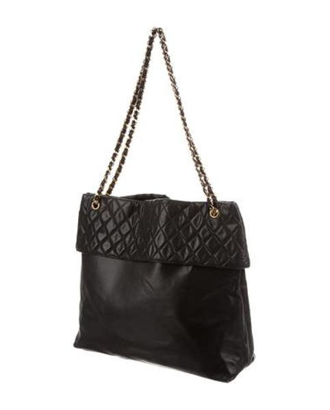 653ae37374b3 Lyst - Chanel Vintage Quilted Xl Tote Black in Metallic
