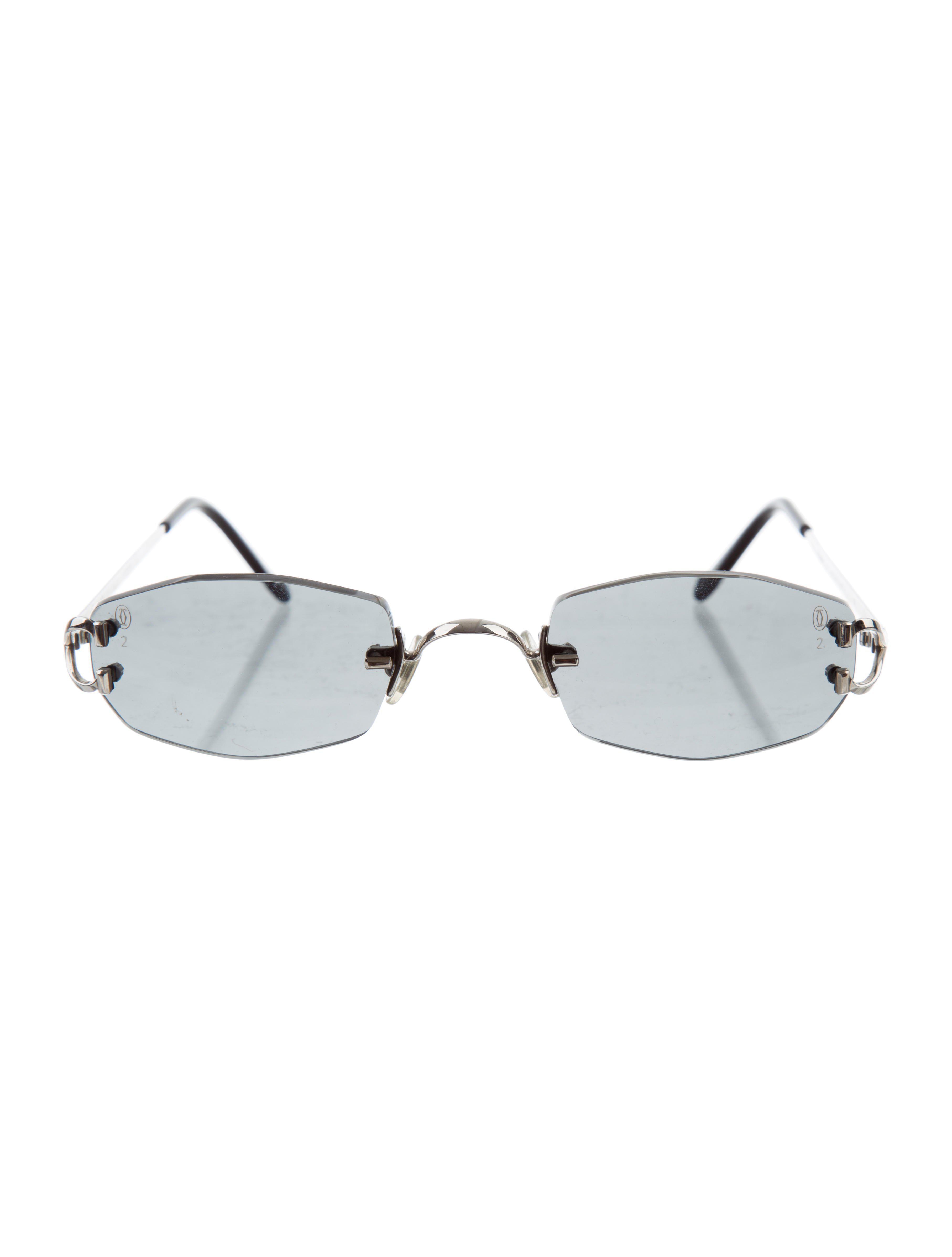 5ebc88dbc33 Cartier Rimless Sunglasses Black Silver Bamboo Frame - Restaurant ...