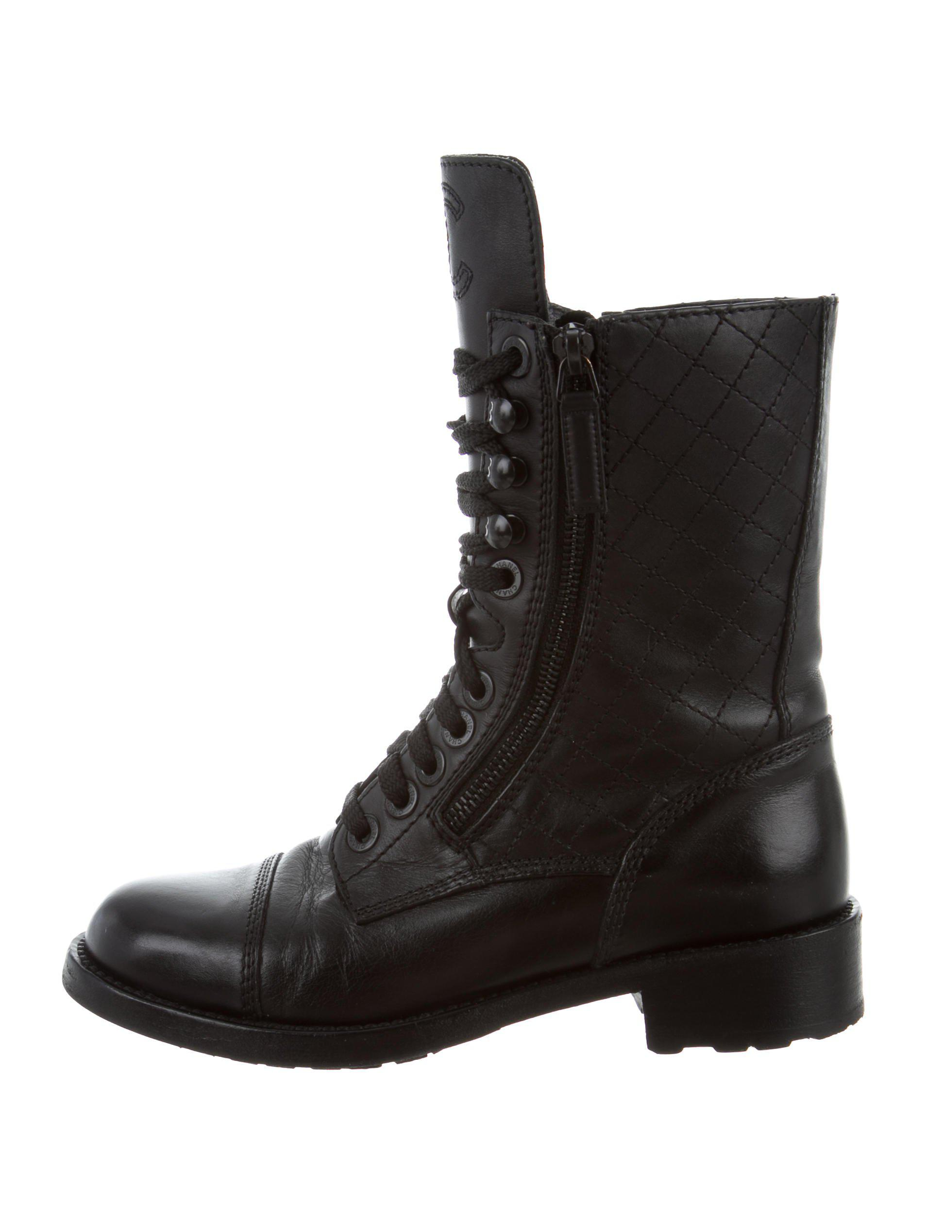 Lyst Chanel Quilted Combat Boots In Black