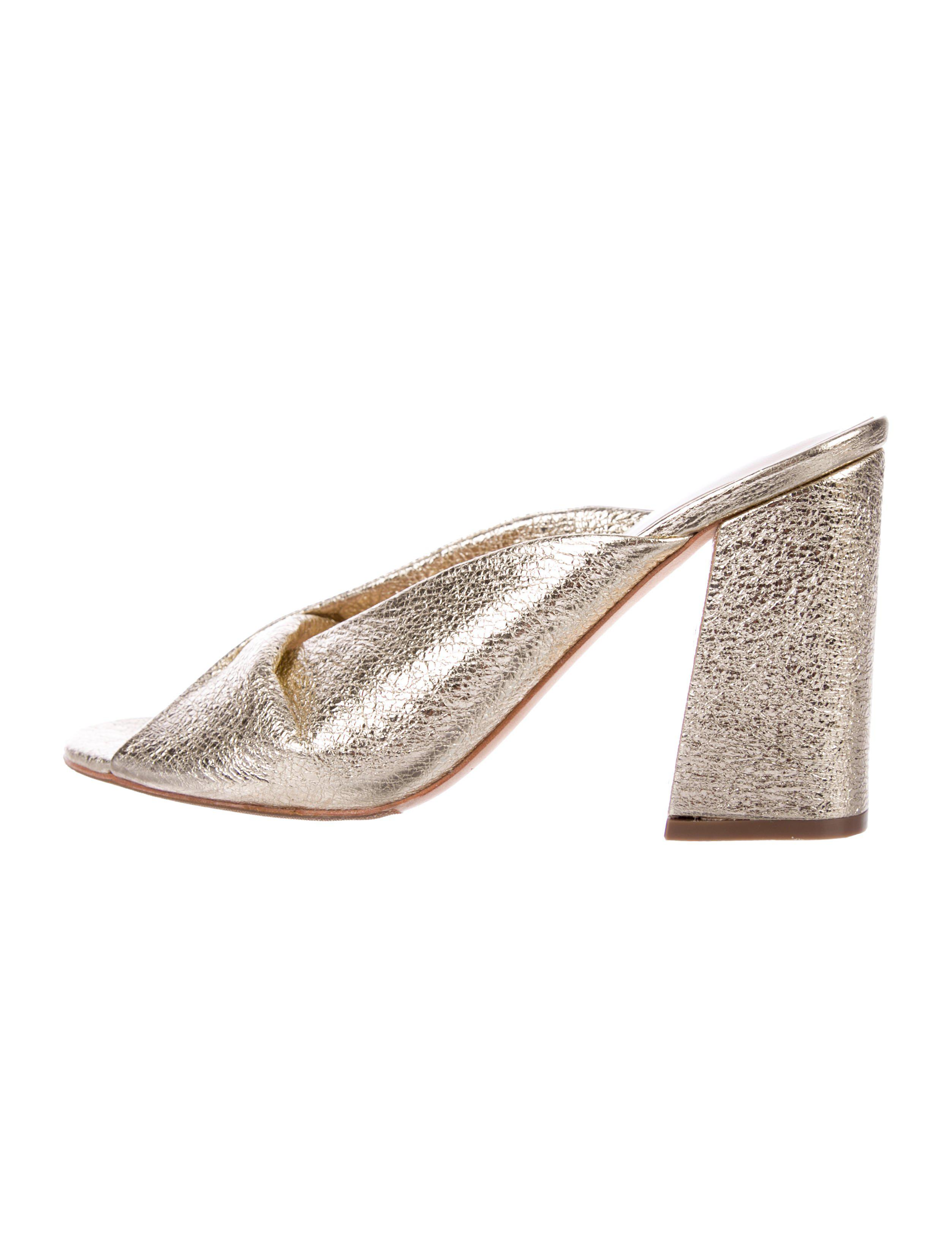 b1526a49866b Lyst - Loeffler Randall Slide Sandals in Metallic