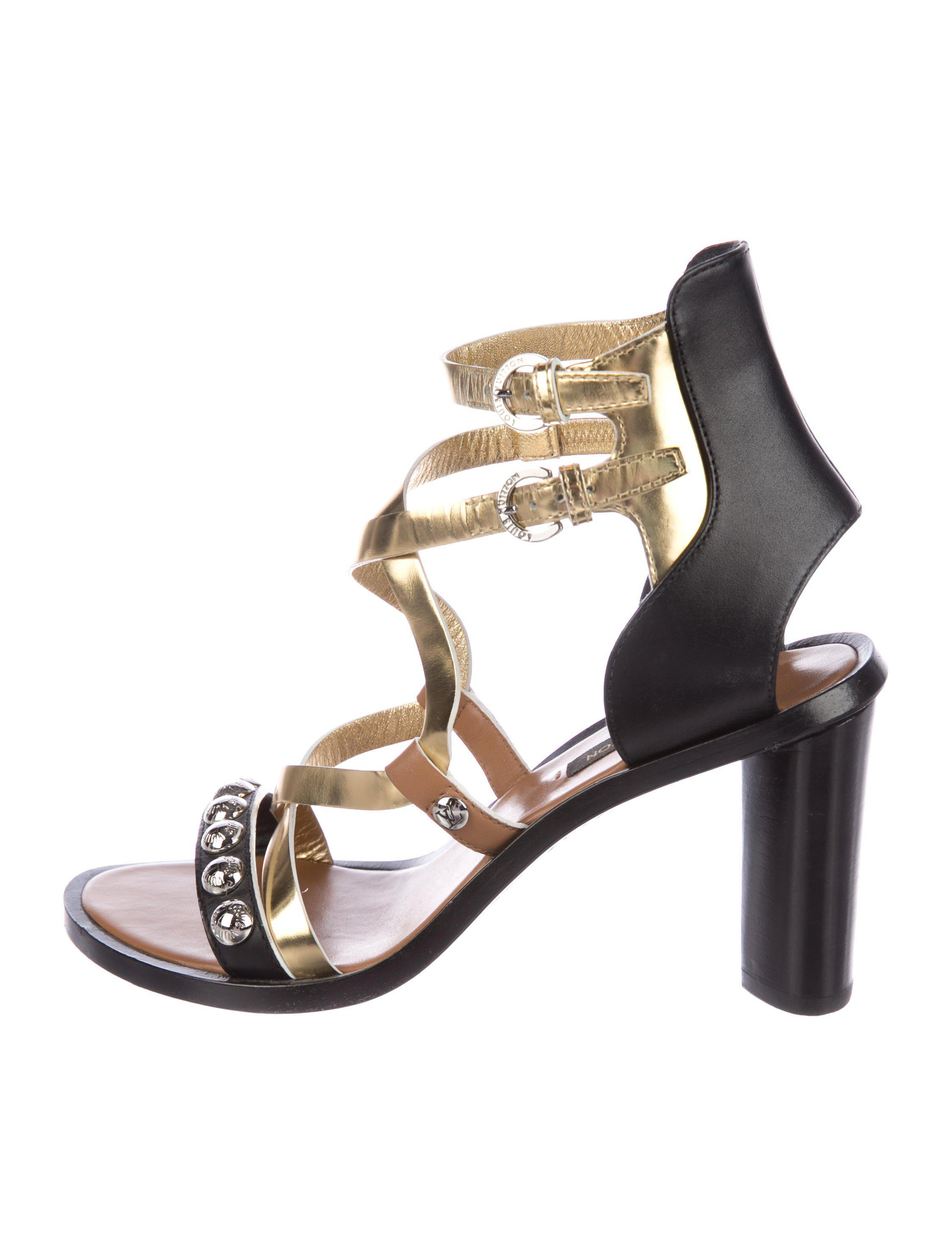 e71211cd4cd8 Lyst - Louis Vuitton Studded Crossover Sandals Black in Metallic