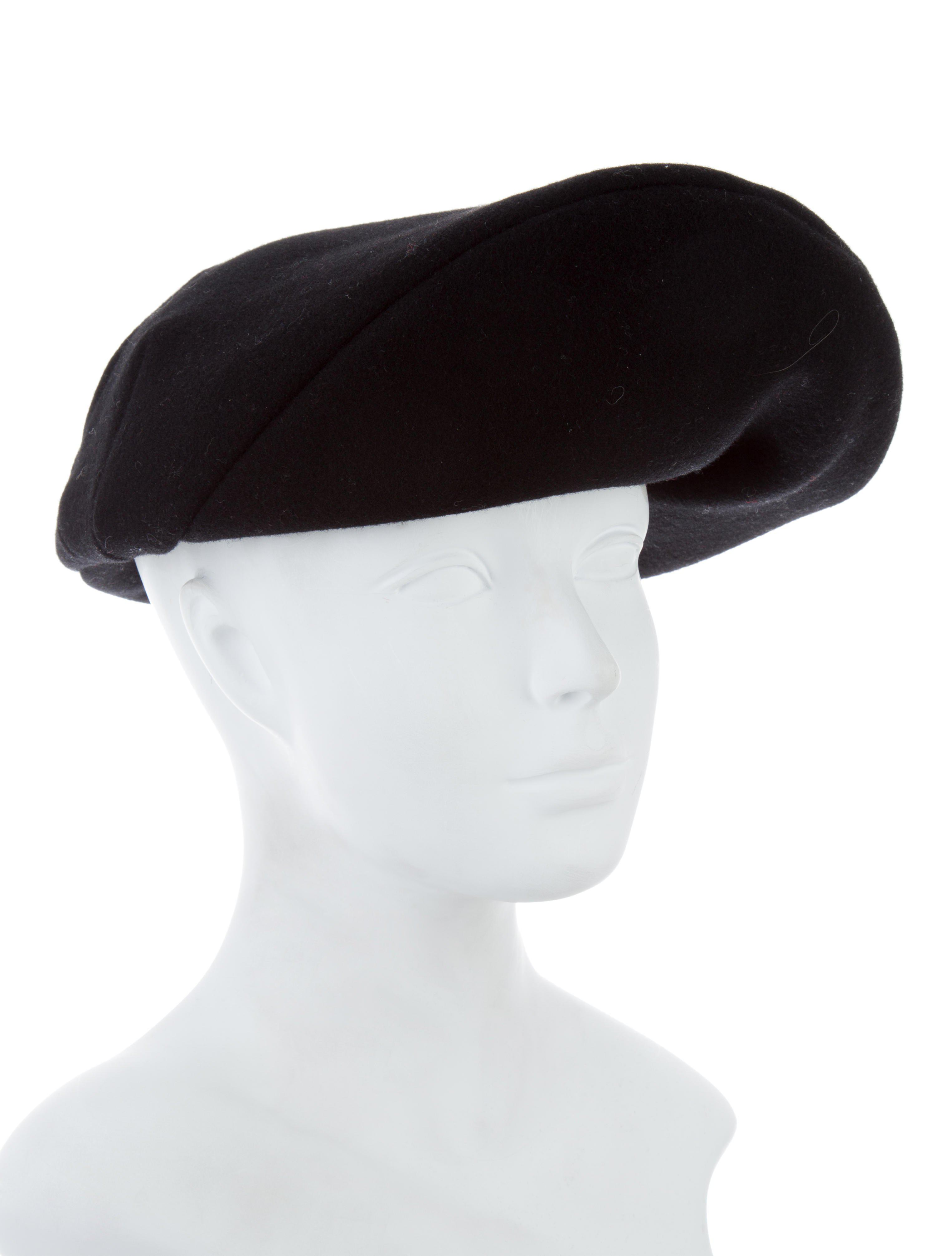Mens Leather-Trimmed Wool-Blend Beret Off-white