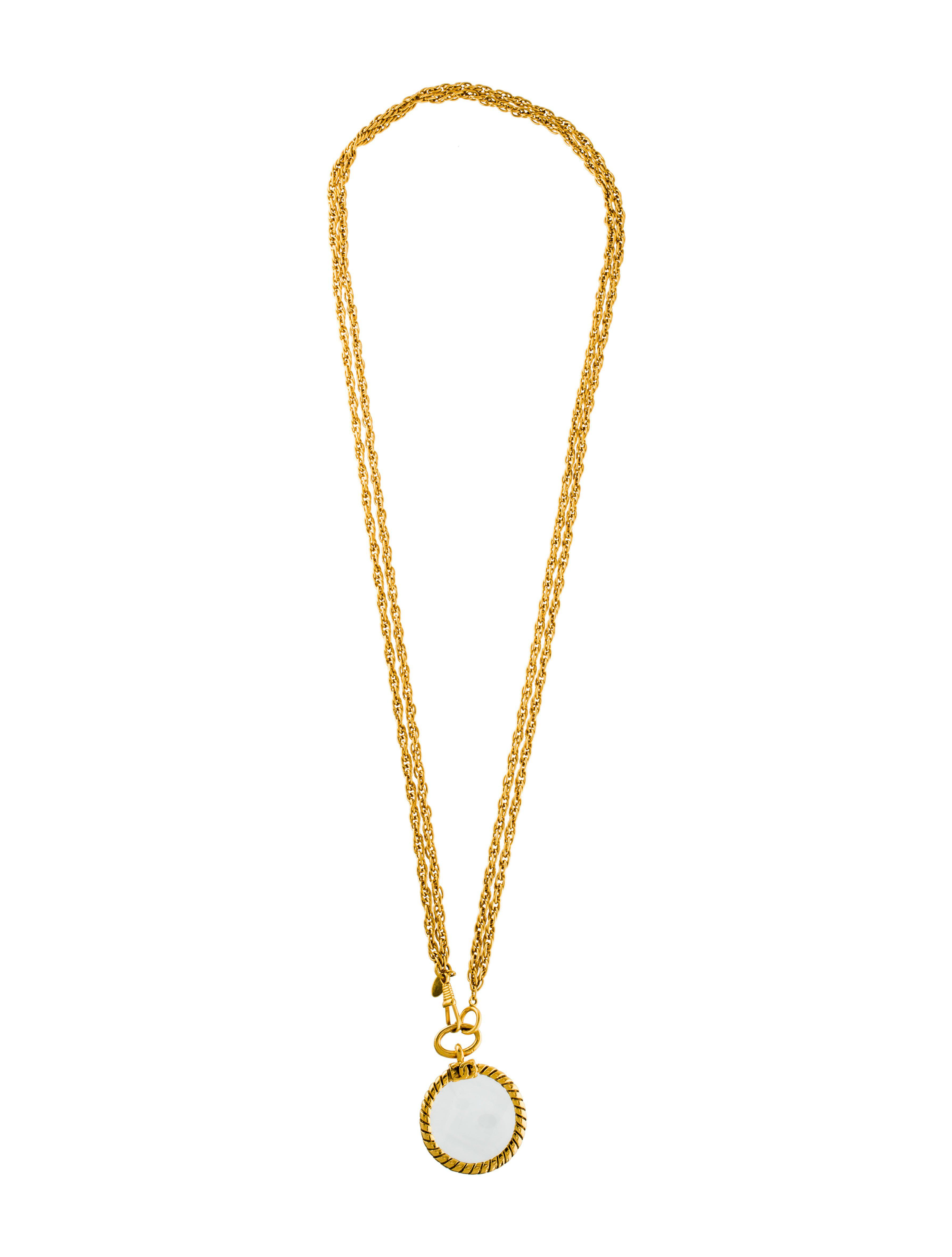 Lyst chanel magnifying glass pendant necklace gold in metallic aloadofball Choice Image