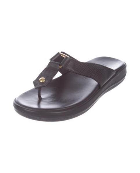 cda65f1a063a Louis Vuitton - Metallic Leather Thong Sandals Black - Lyst. View fullscreen