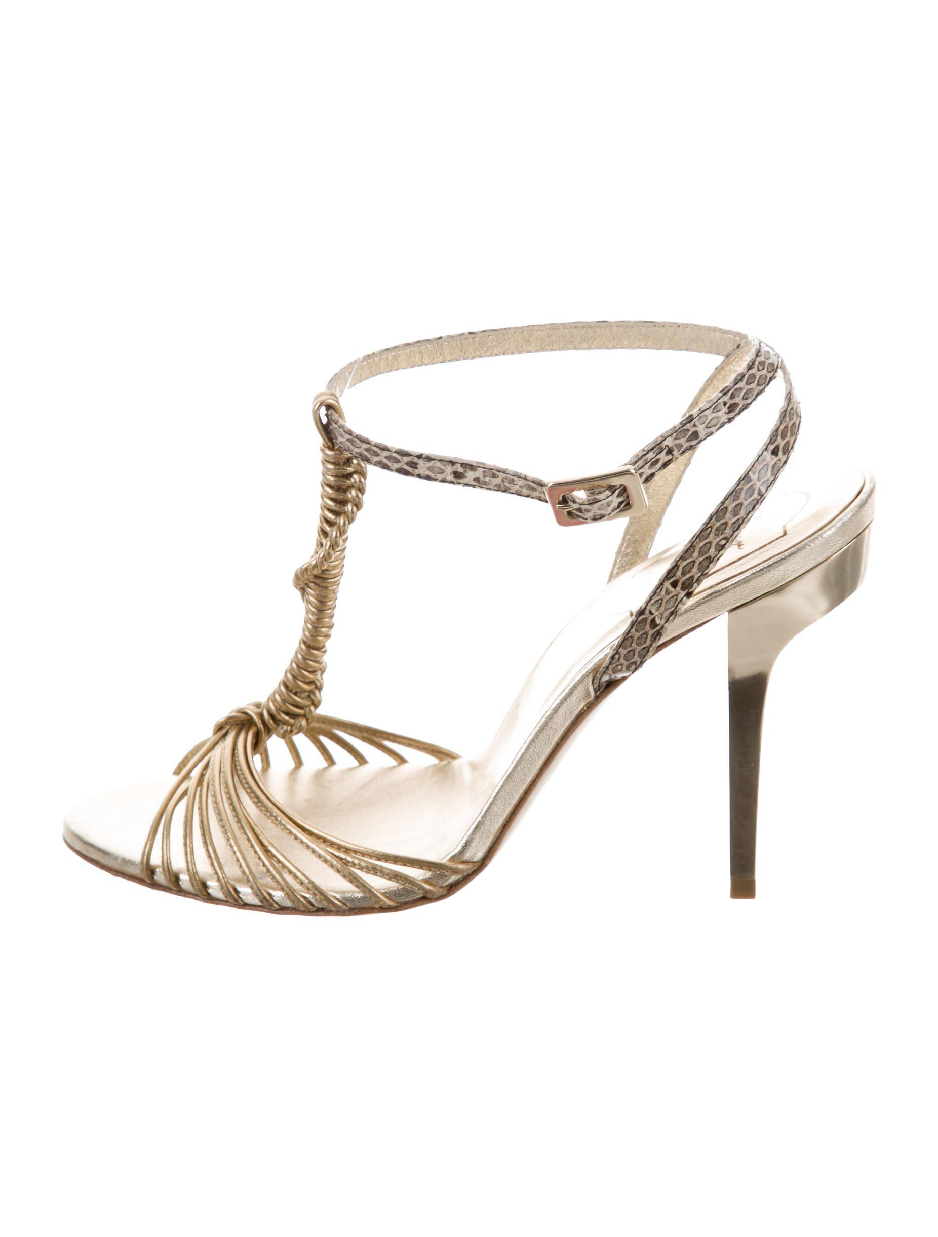 Roger Vivier Metallic Snakeskin Sandals ebay online cheap sale best place 2014 newest cheap online big sale online Sh68d